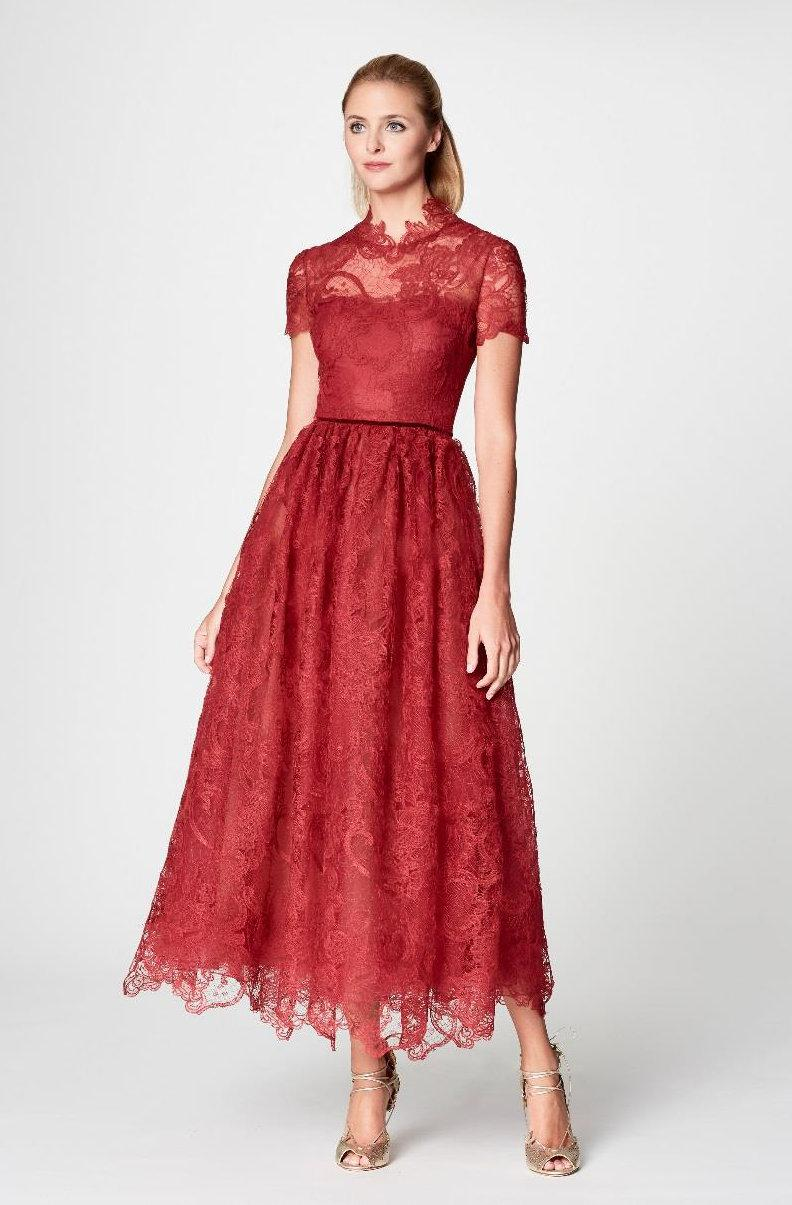 8cfa09a82f3 Marchesa notte Red Short Sleeve Lace Applique Midi Tea Dress in Red ...