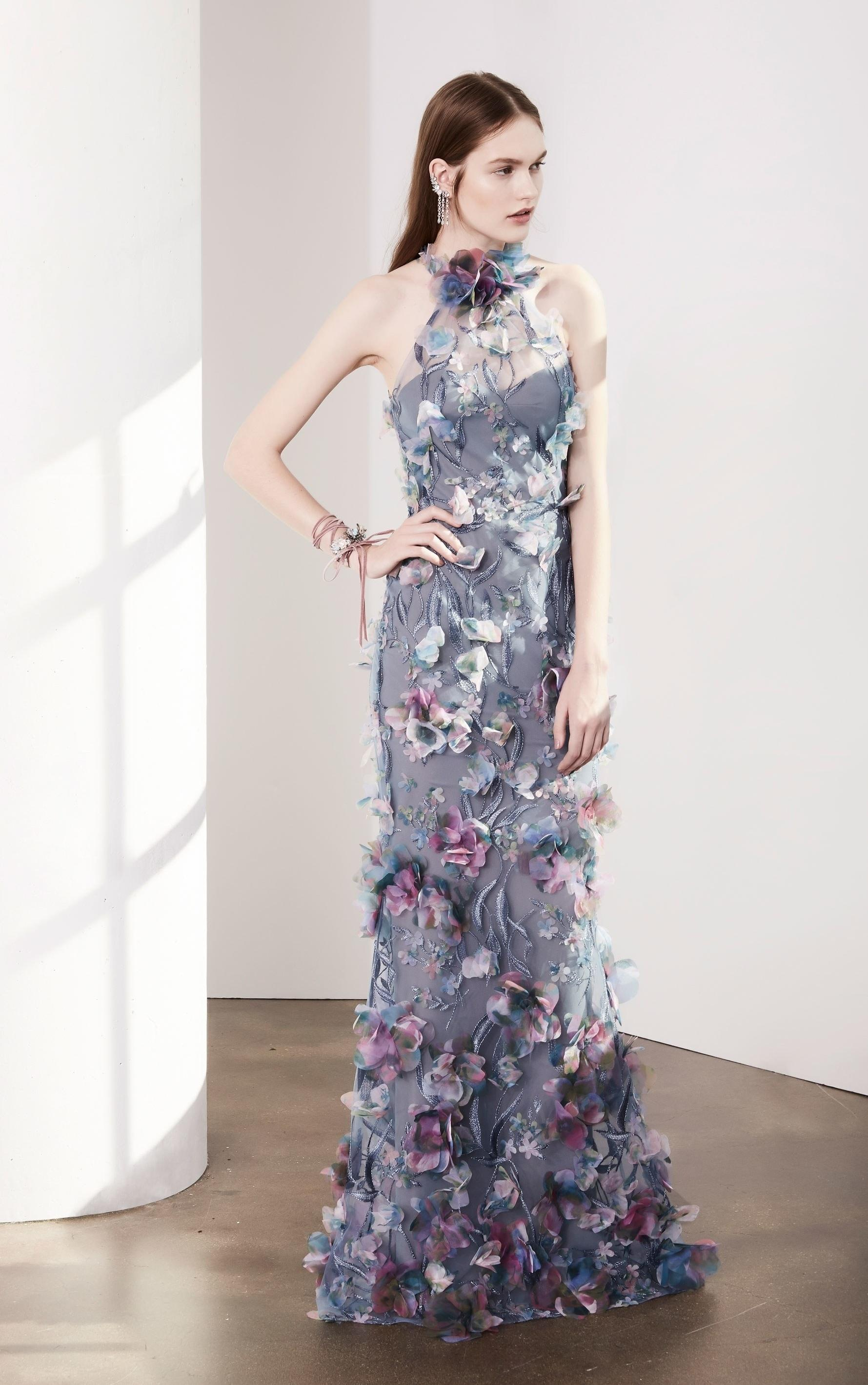 Lyst - Marchesa Notte Sleeveless 3d Floral Halter Evening Gown in Purple
