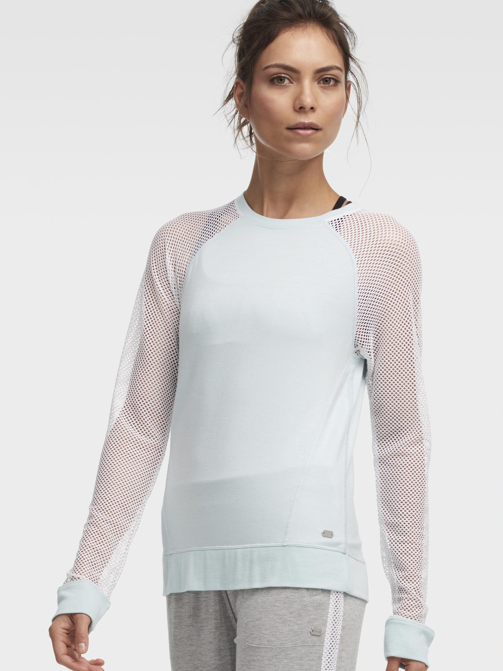 In Lyst Pullover Dkny With Crew Sleeves Blue Mesh Neck w0g4wrqA