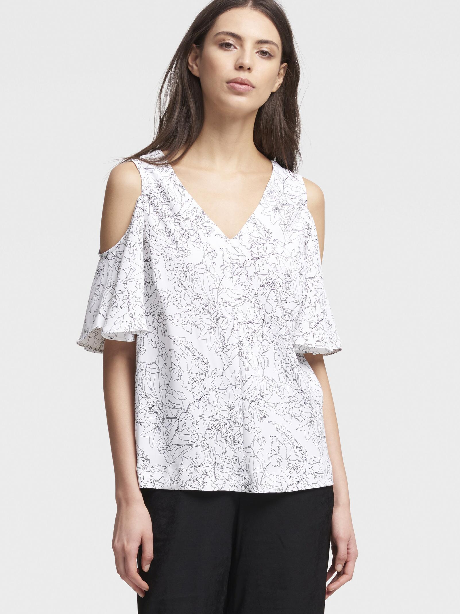 e178f77d044832 Lyst - Dkny Floral Ruffle-sleeve Cold-shoulder Top in White