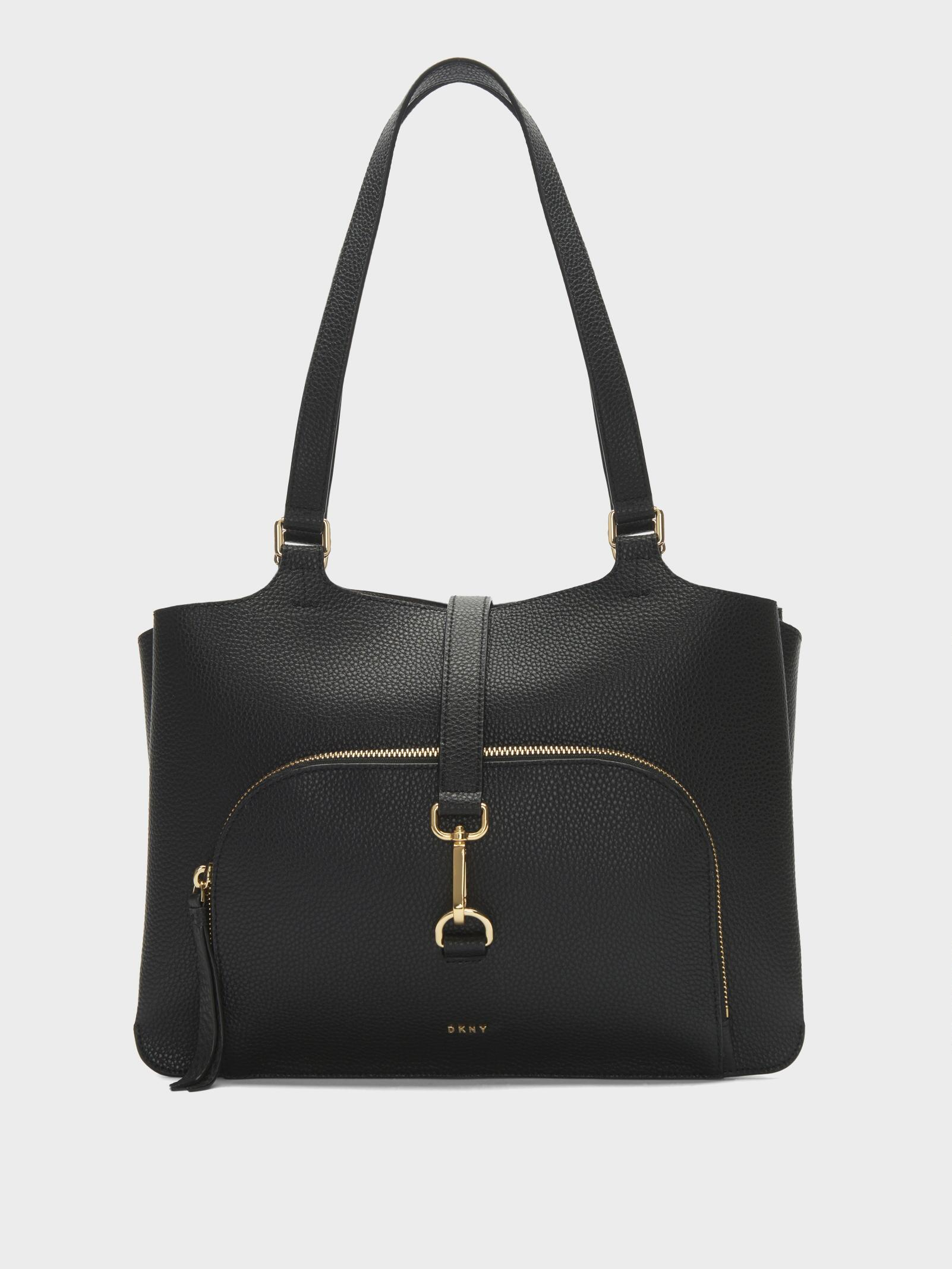 6f9cc60f911480 DKNY Paris Pebbled Leather Large Tote in Black - Lyst
