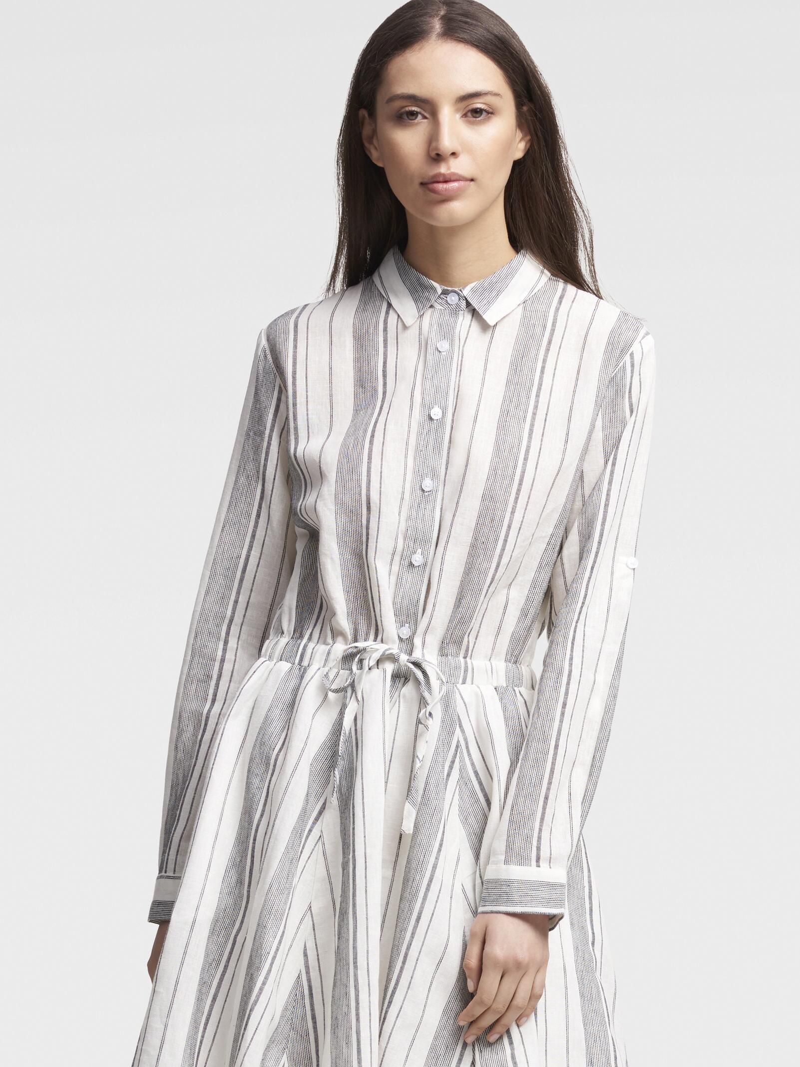 76fc9da7606 Lyst - DKNY Striped Linen Long-sleeve Shirtdress With Waist Tie in White