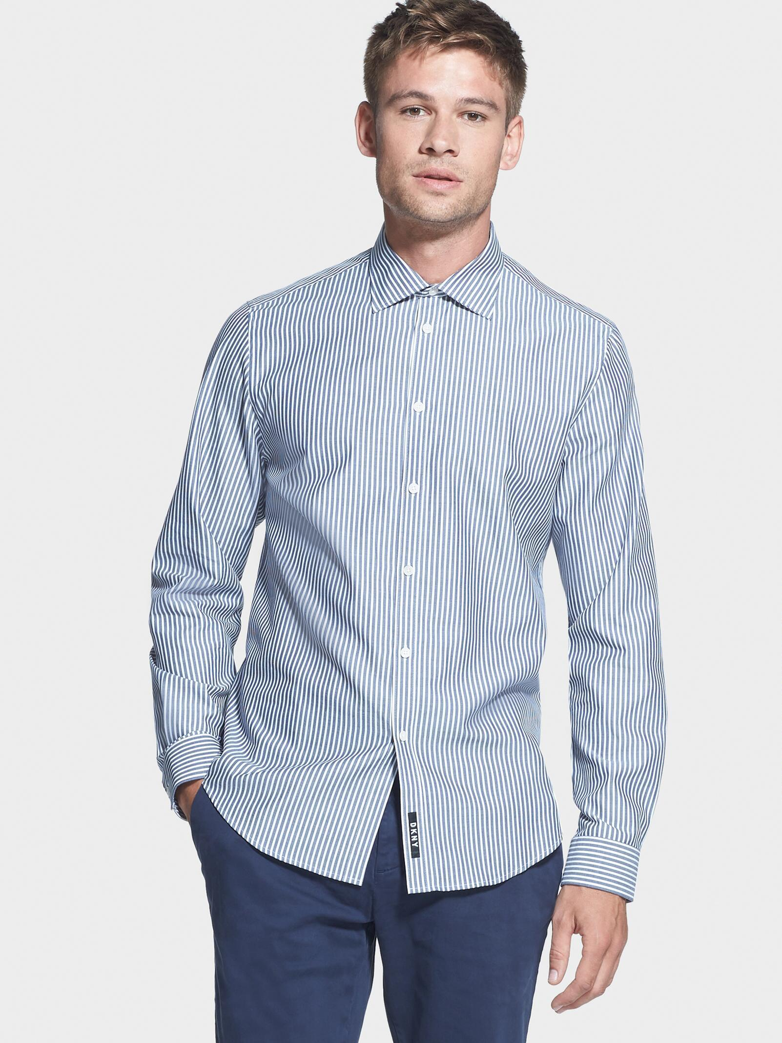 e4849432c9d Lyst - DKNY Woven Stripe Button-up Shirt in Blue for Men