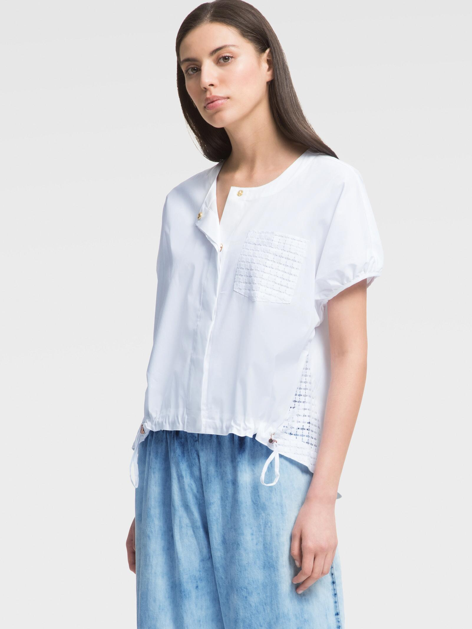 8950b6b8b8c Lyst - DKNY Short-sleeve Poplin Top With Eyelet Detail in White
