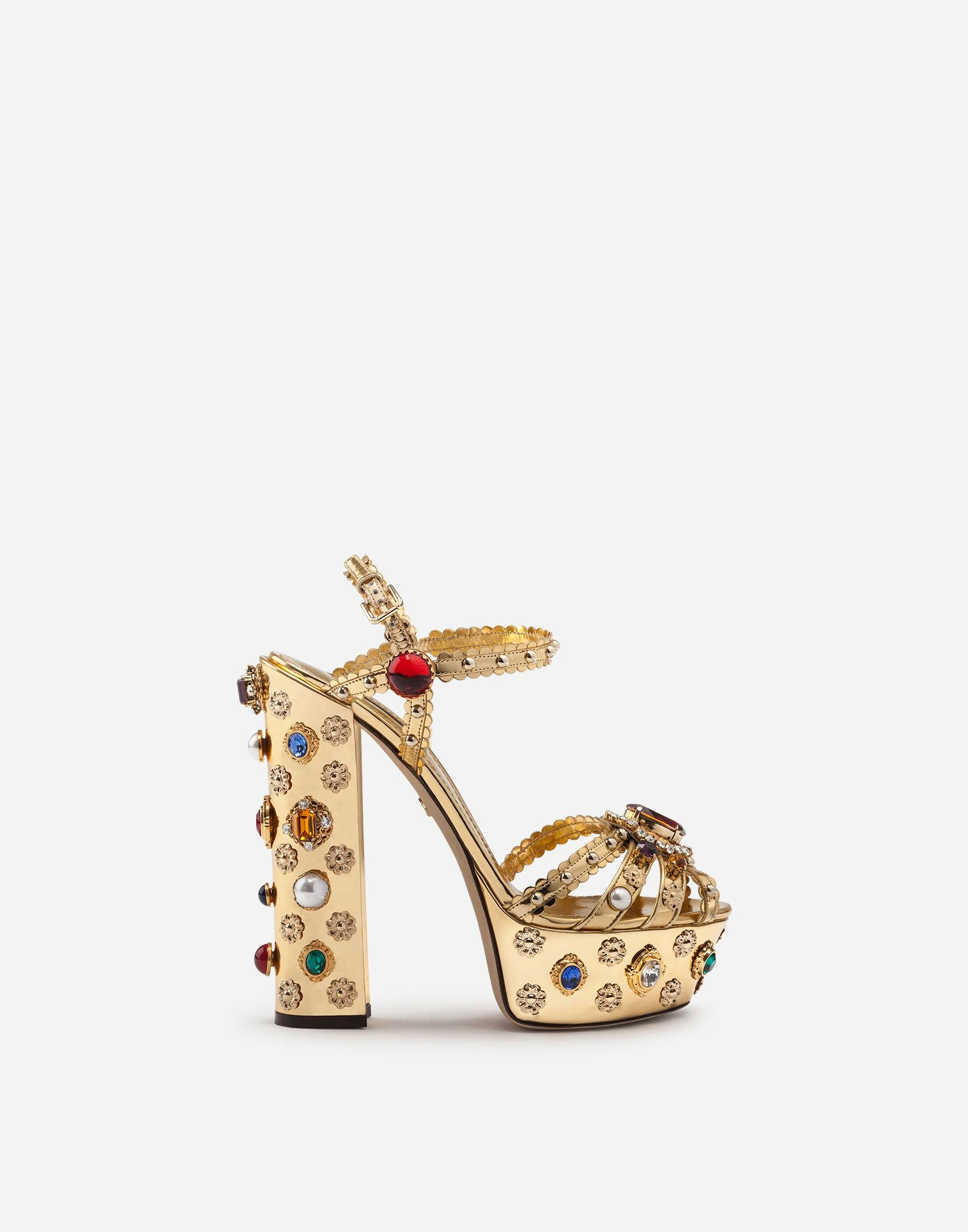99d315807fc4 Lyst - Dolce   Gabbana Bejeweled Platform Sandals In Mirrored ...