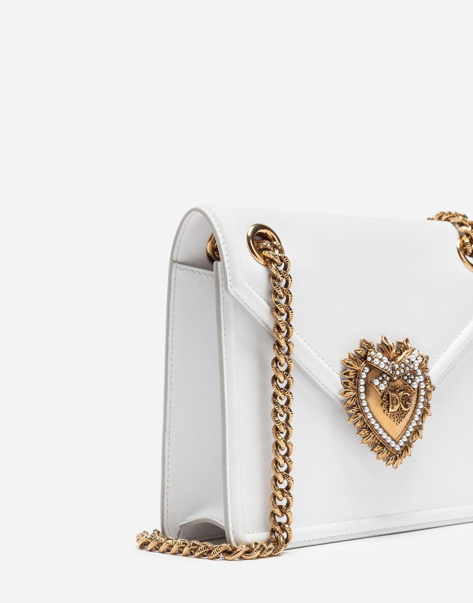 a3d240aea1 Lyst - Dolce   Gabbana Medium Devotion Bag In Smooth Calfskin Leather in  White