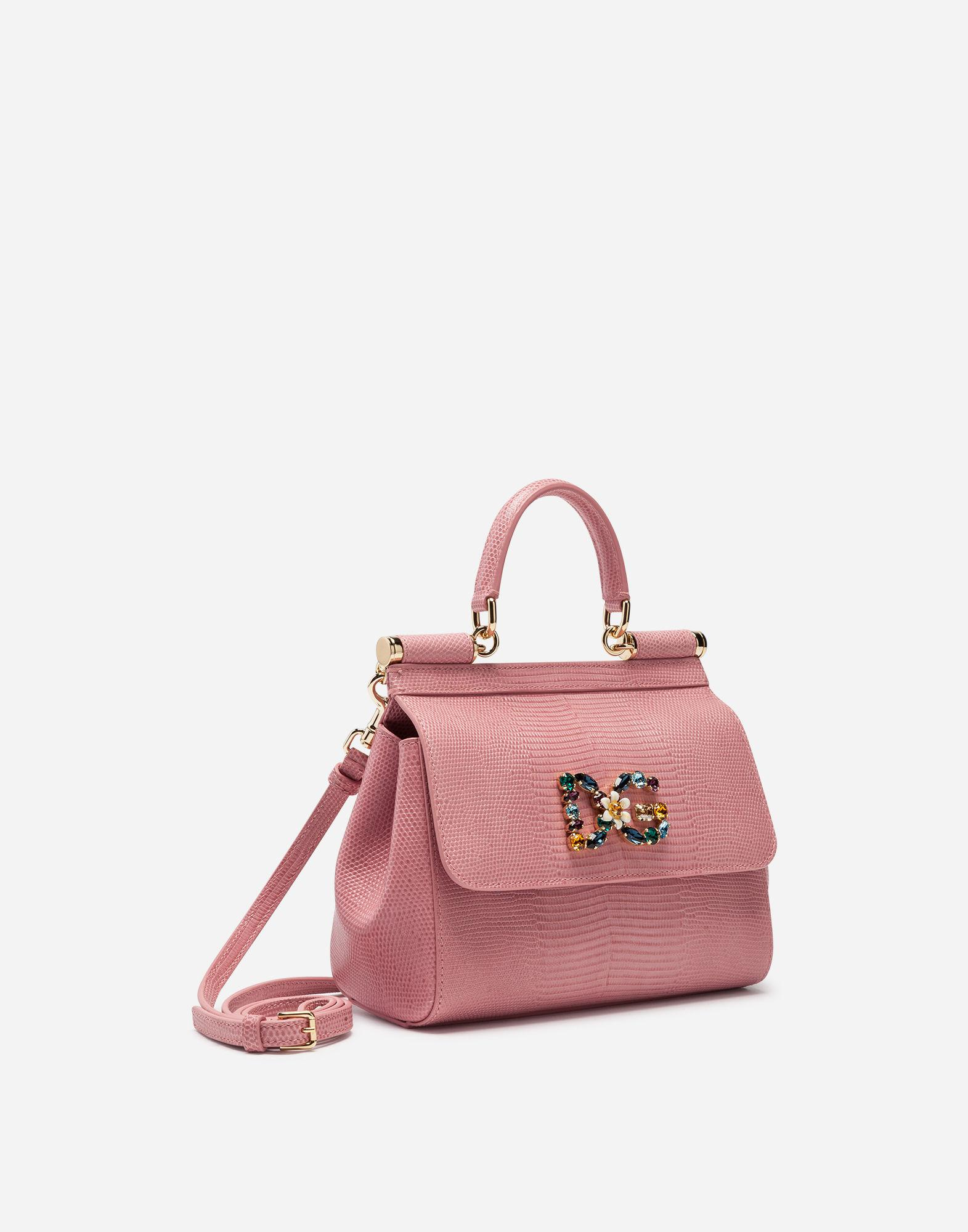 Lyst - Dolce   Gabbana Small Sicily Handbag In Iguana Print Calfskin With Dg  Logo Crystals in Pink 4ce8e006bc