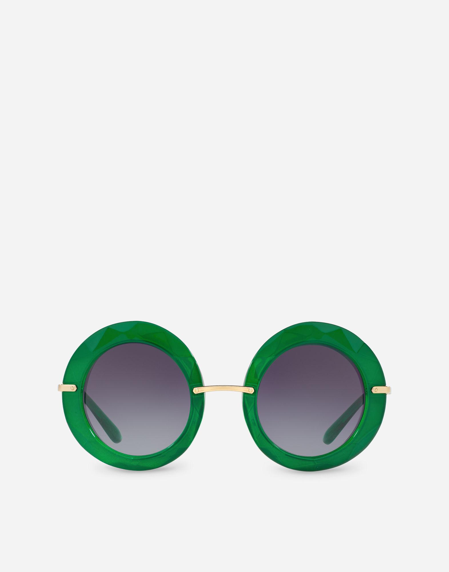 cae7b12585c Lyst - Dolce   Gabbana Round Sunglasses In Metal And Acetate in Green