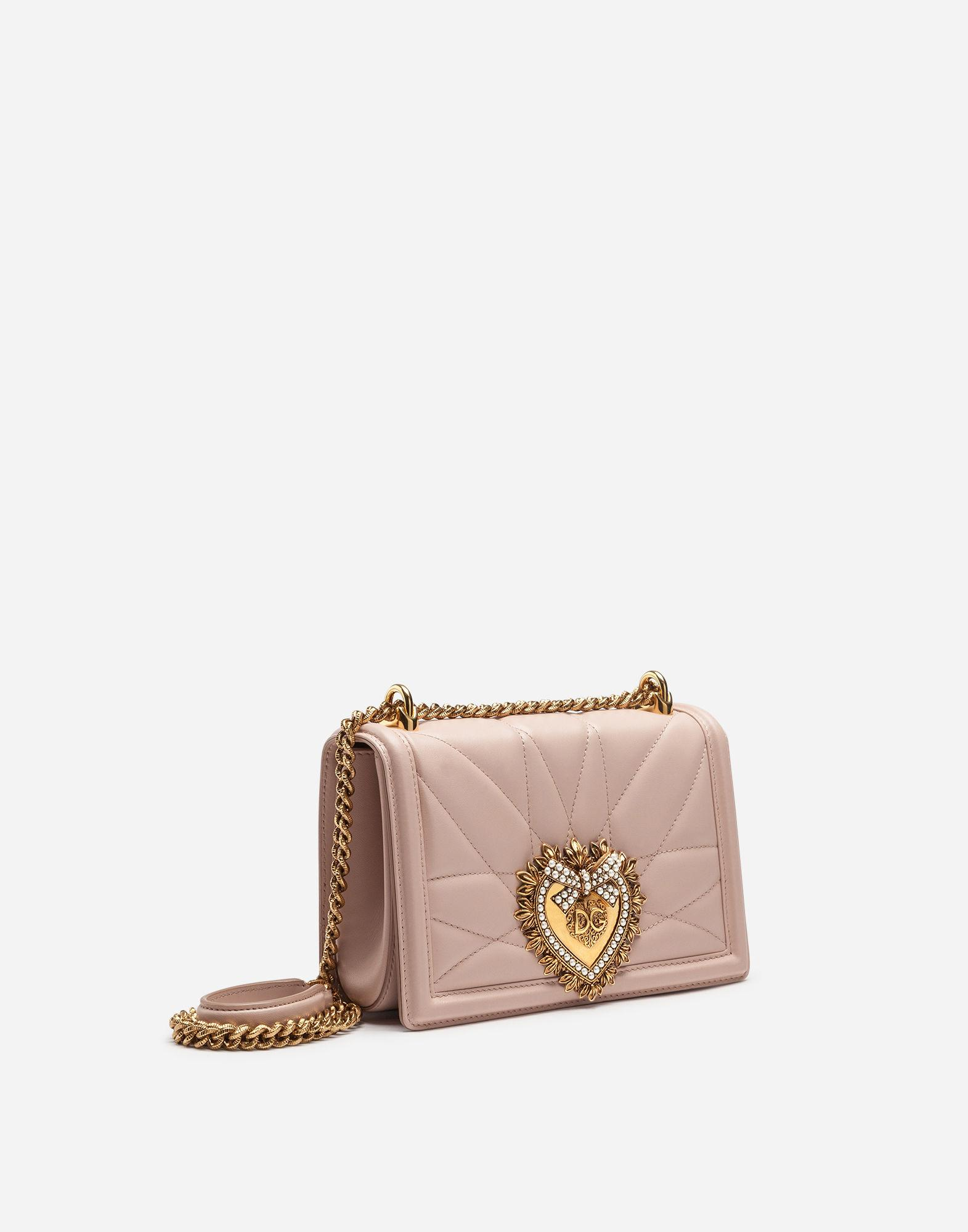 f6d16b1ff0d1 Lyst - Dolce   Gabbana Large Devotion Bag In Quilted Nappa Leather in Pink
