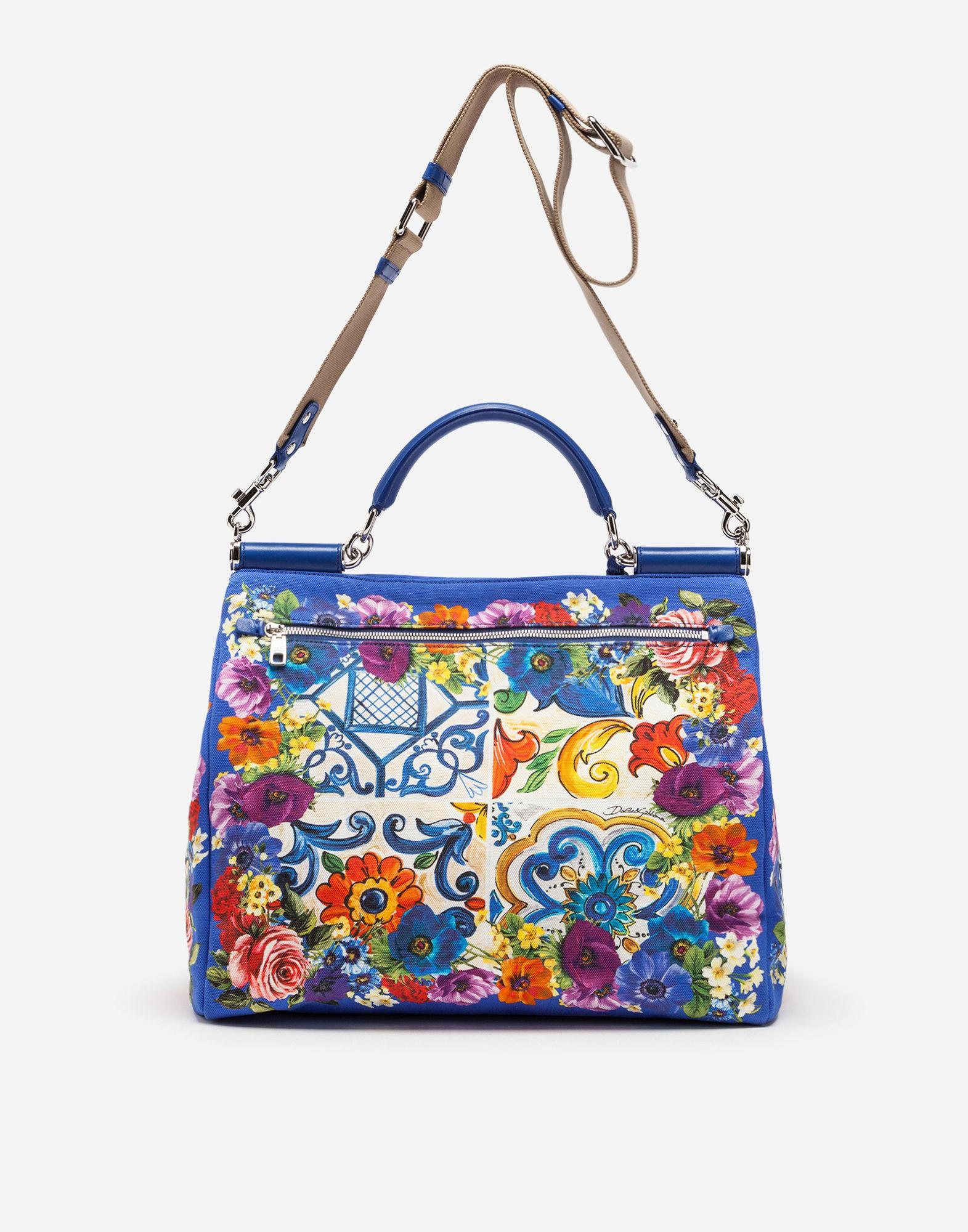 3a59021a5f Dolce   Gabbana Sicily Soft Bag In Majolica-print Canvas in Blue - Lyst