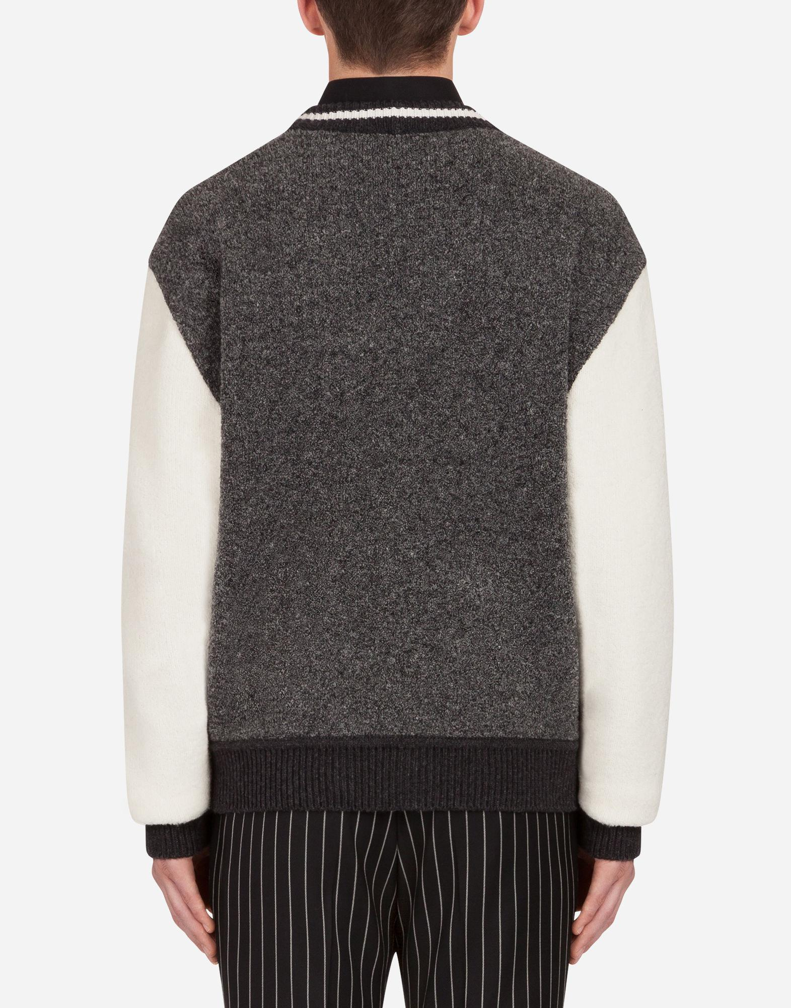 2f8d2320 Lyst - Dolce & Gabbana Wool Blend Cardigan With Patch in Gray for Men