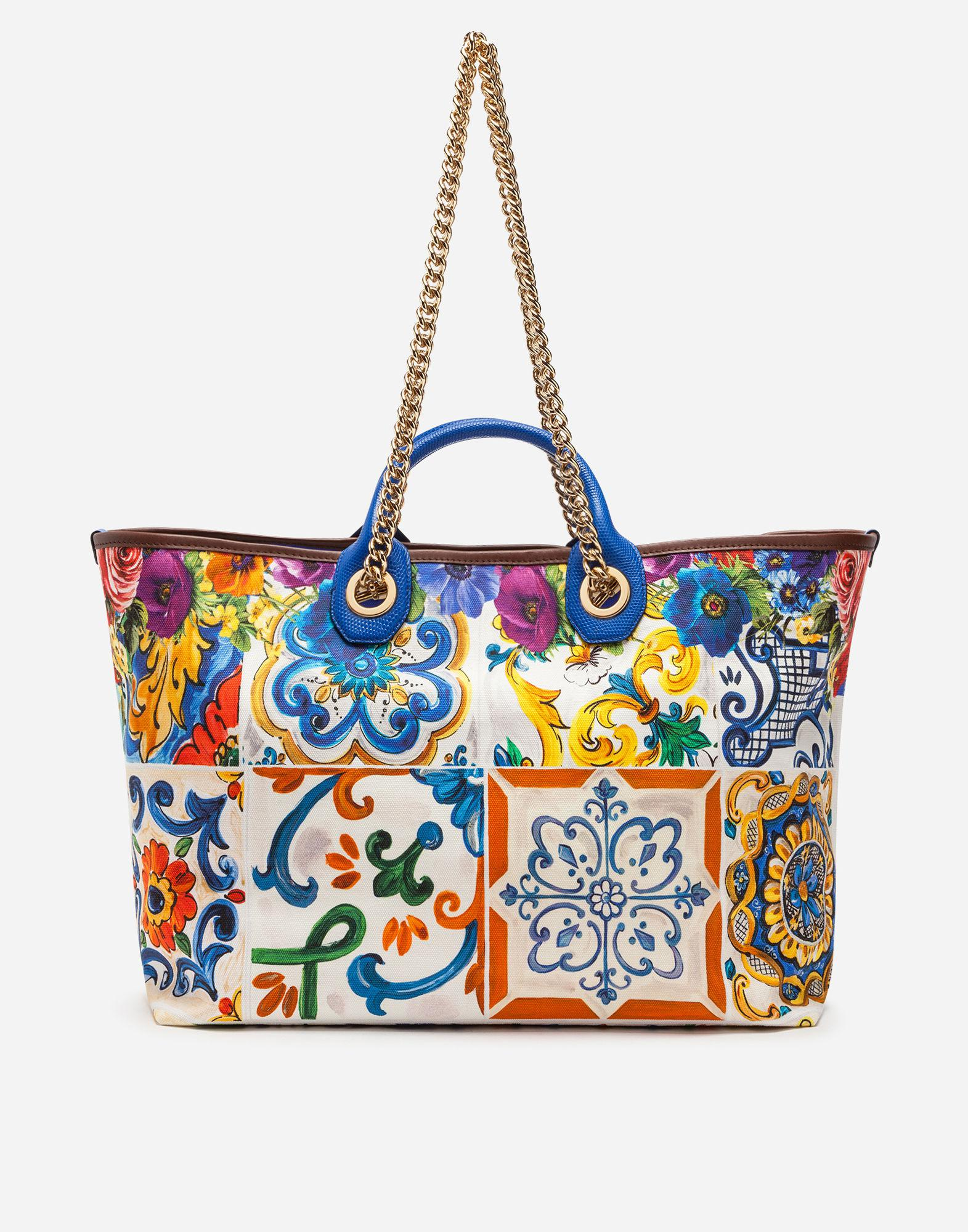 Lyst - Dolce   Gabbana Medium Capri Shopping Bag In Printed Canvas ... 5386817703c44