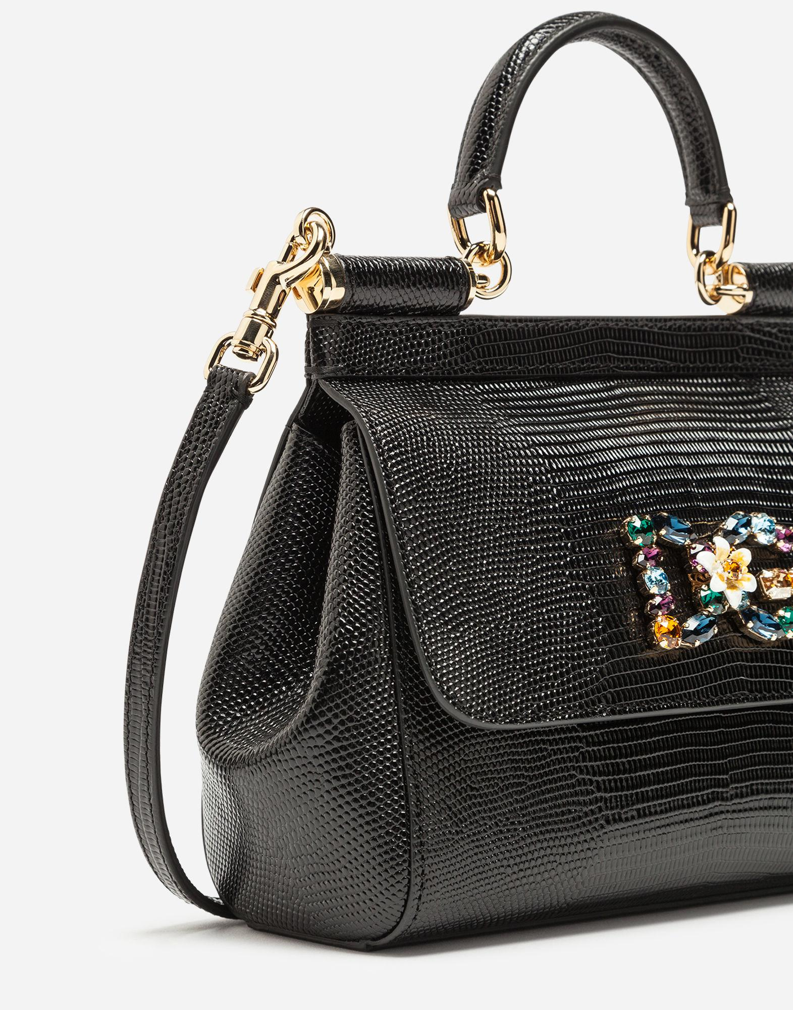 Lyst - Dolce   Gabbana Small Calfskin Sicily Bag With Iguana-print And Dg  Crystal Logo Patch in Black 9b708410676a6