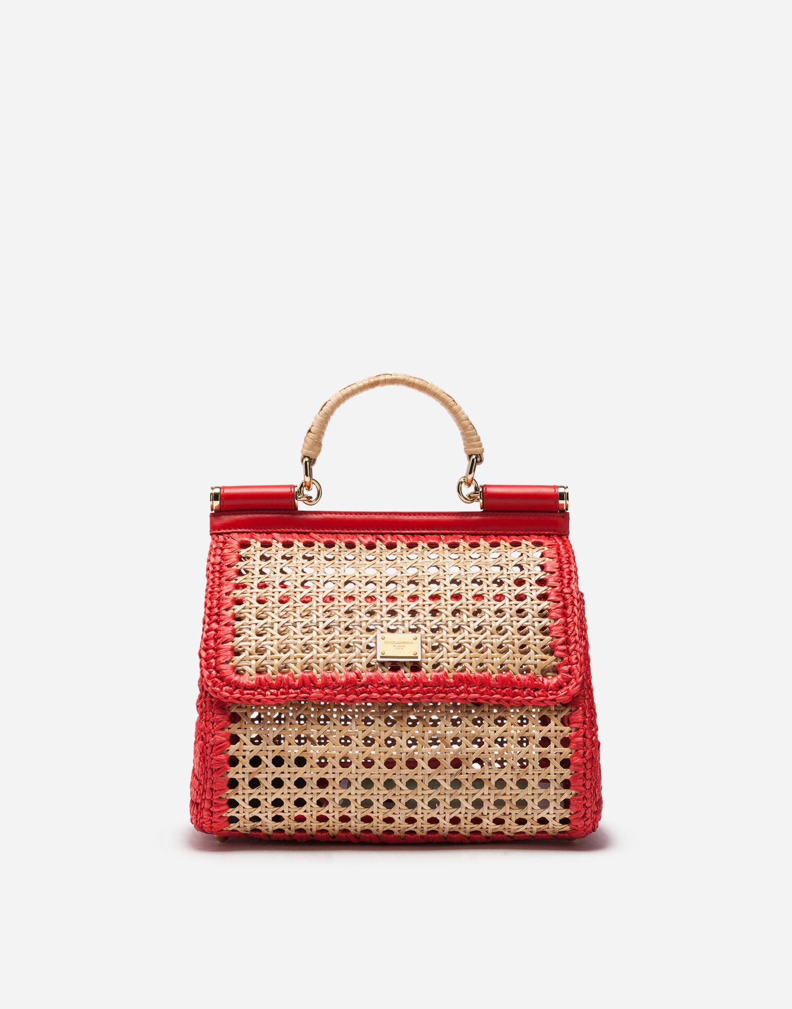 5892b7989a0 Lyst - Dolce   Gabbana Medium Sicily Bag In Mix Of Materials in Red ...
