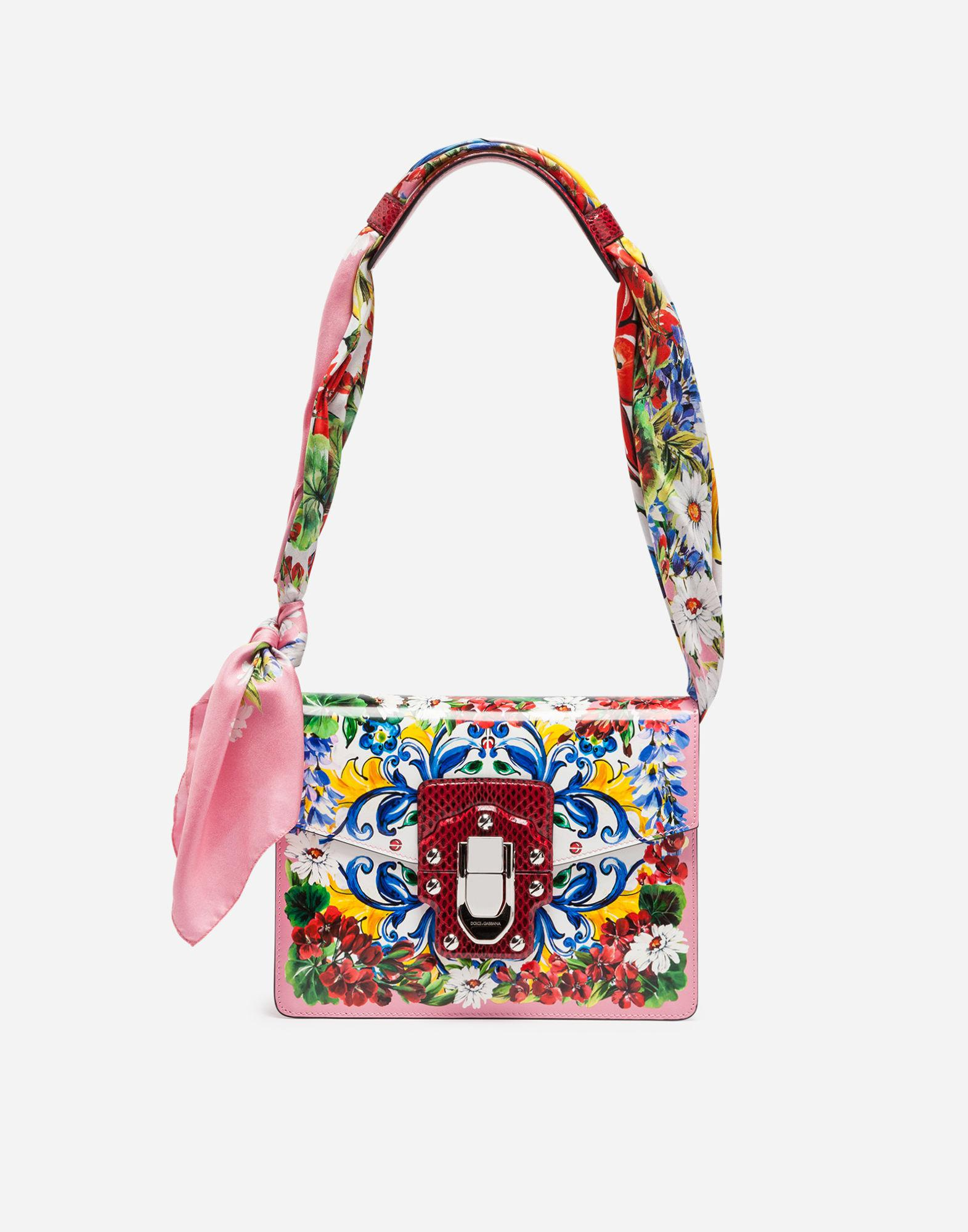 c5792da3ca85 Lyst - Dolce   Gabbana Printed Leather And Ayers Lucia Shoulder Bag