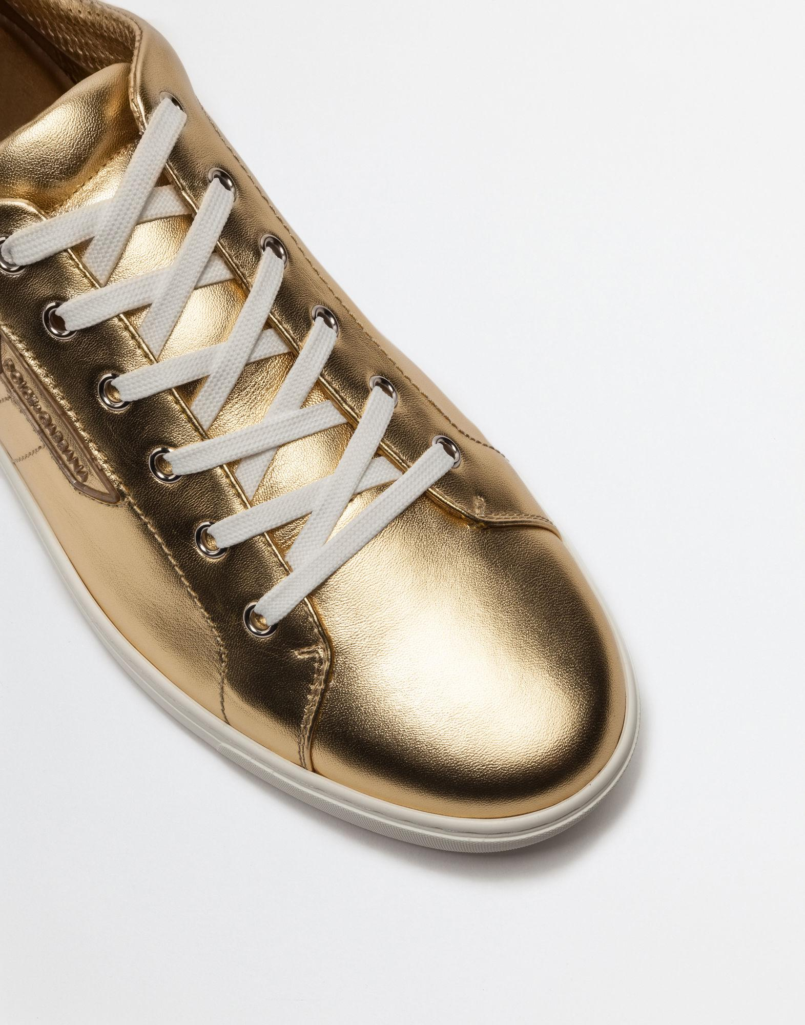 9e11fa5cd7bb Lyst - Dolce   Gabbana Metallic Leather Sneakers London in Metallic ...