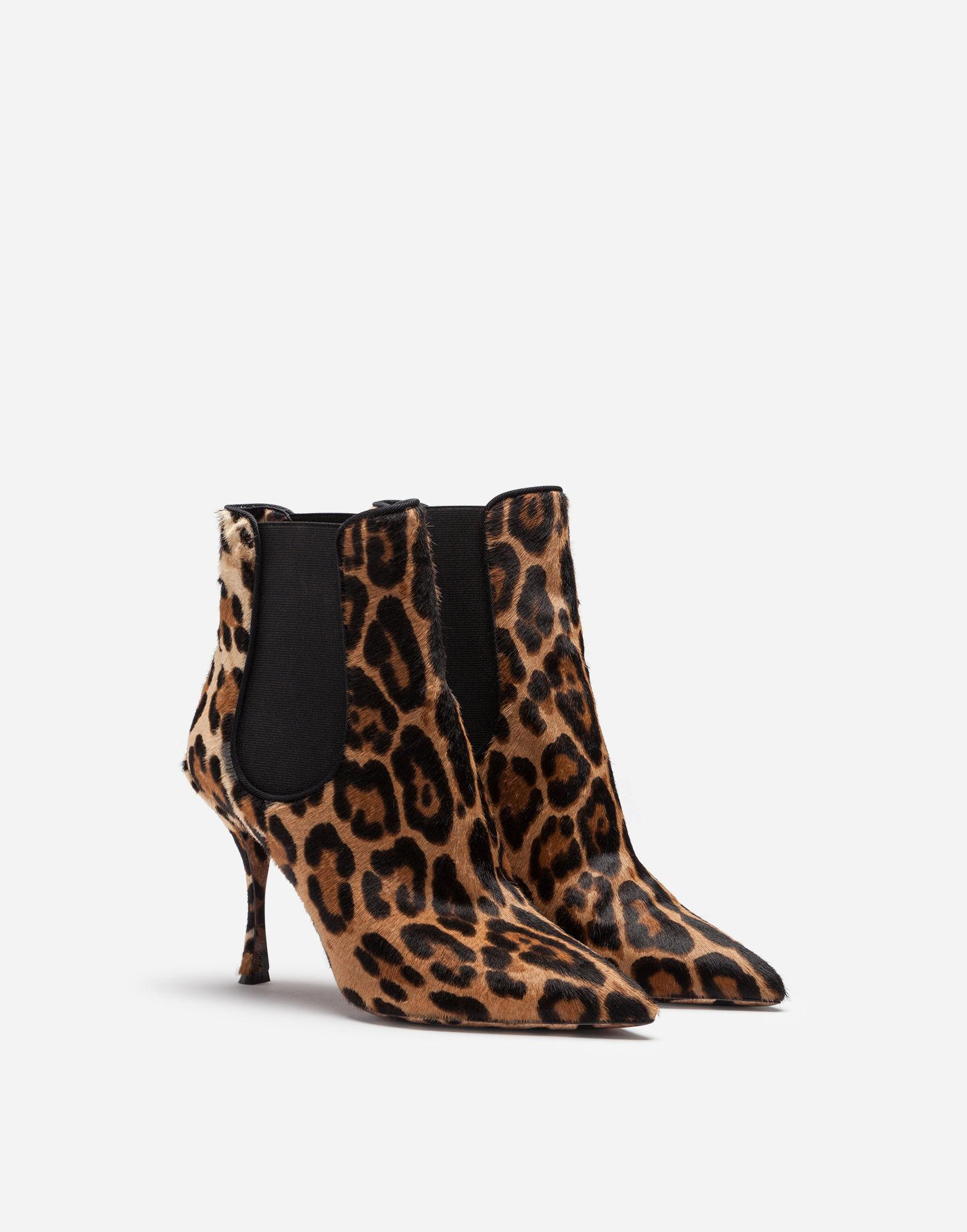 d11479d6370 Lyst - Dolce   Gabbana Leopard-print Calf Hair Ankle Boots in Brown