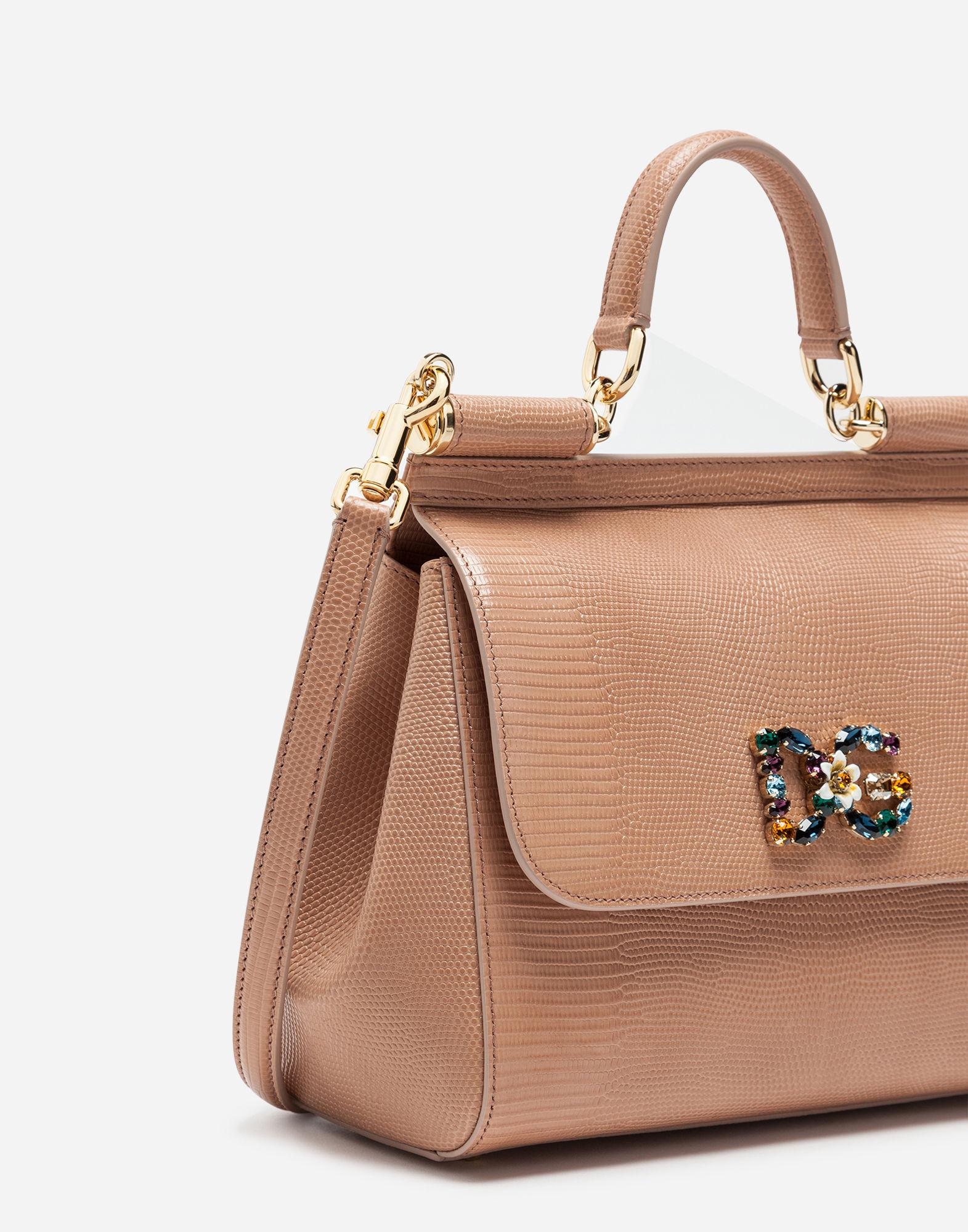 7be5ac99271f Lyst - Dolce   Gabbana Medium Calfskin Sicily Bag With Iguana Print And Dg  Crystal Logo Patch in Pink