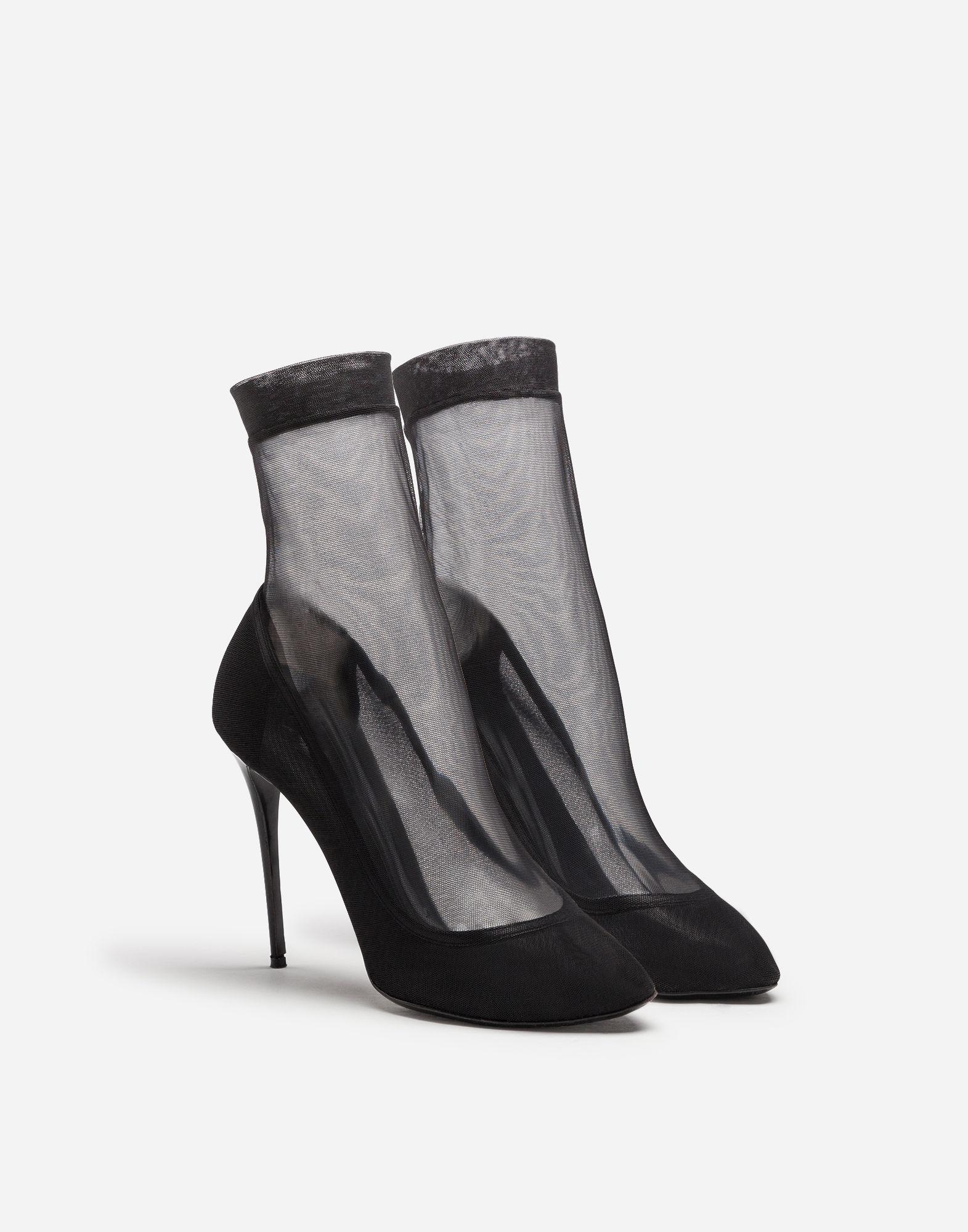 536c4bc7668 Lyst - Dolce   Gabbana Stretch Tulle And Patent Leather Booties in Black