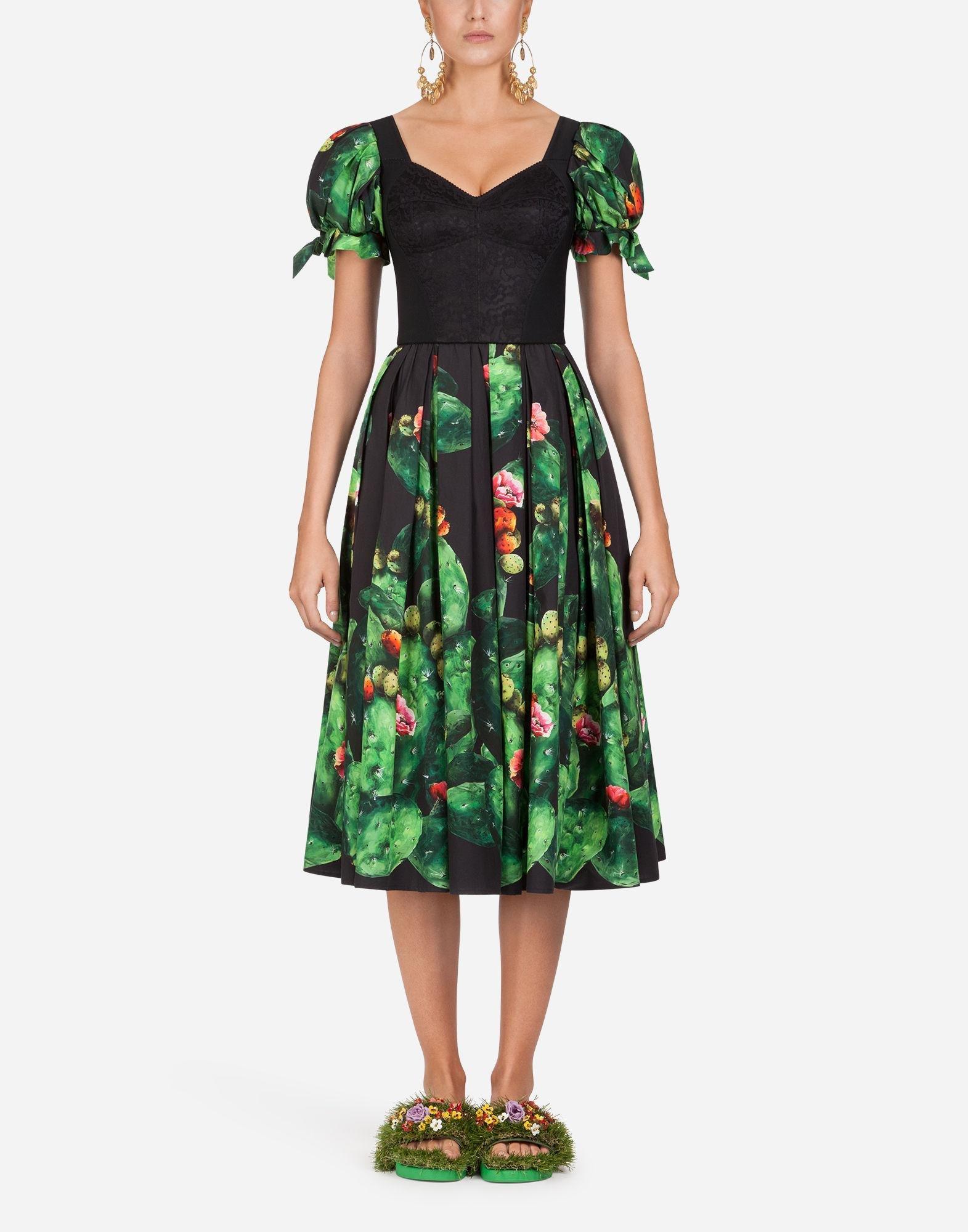 542a4780 Dolce & Gabbana Cactus-print Cotton Dress in Green - Lyst