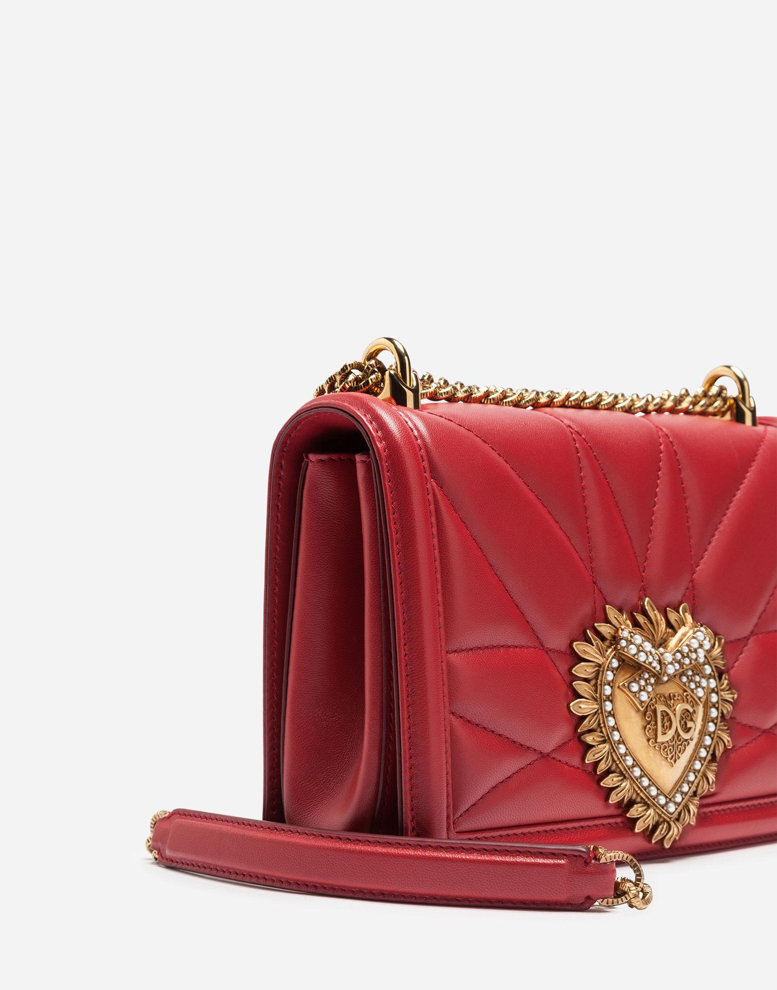 eae53a2560 Lyst - Dolce   Gabbana Medium Devotion Bag In Quilted Nappa Leather in Red  - Save 20%