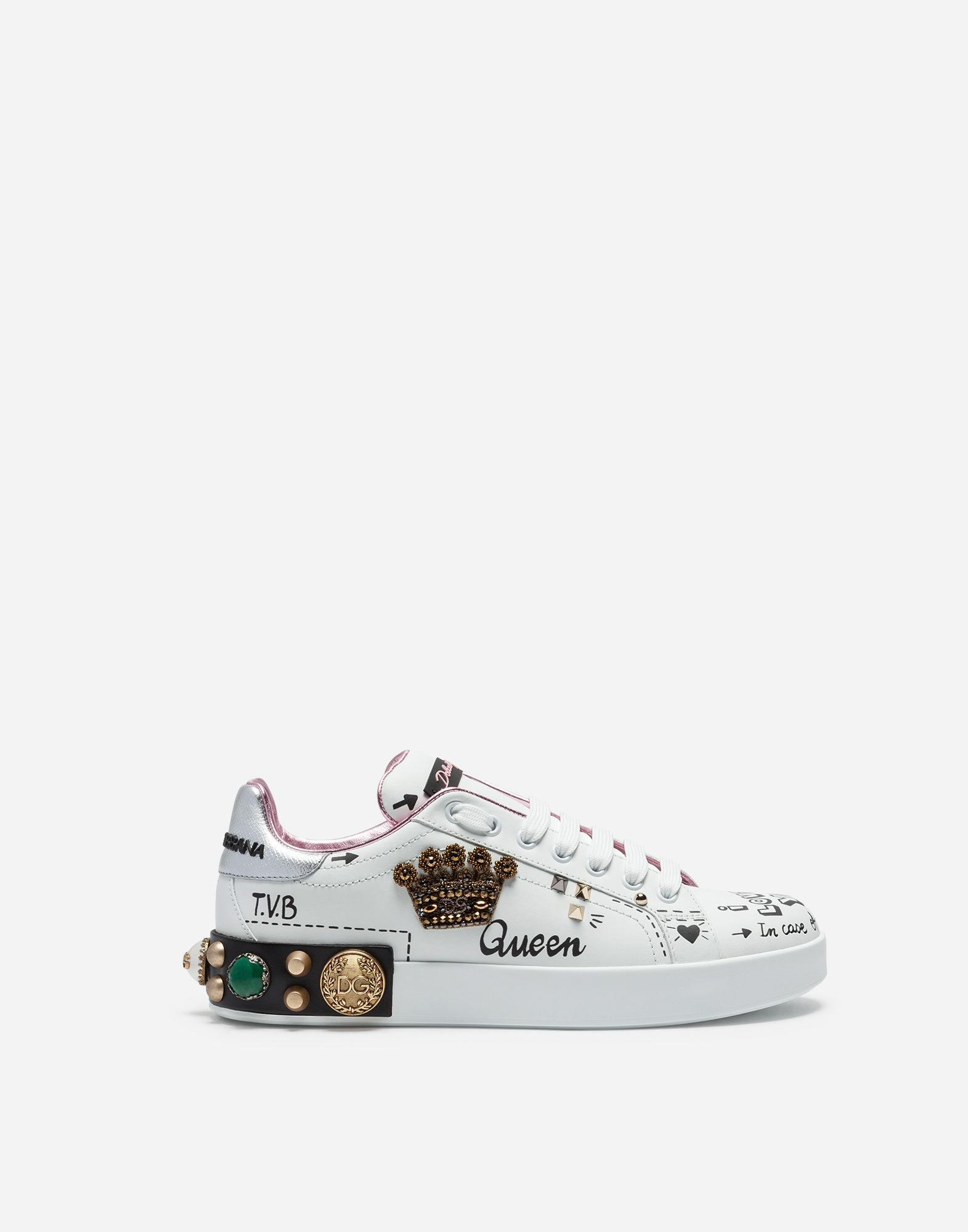 271b2fe0645 Dolce & Gabbana - White Printed Calfskin Portofino Sneakers With Patch And  Embroidery - Lyst. View fullscreen