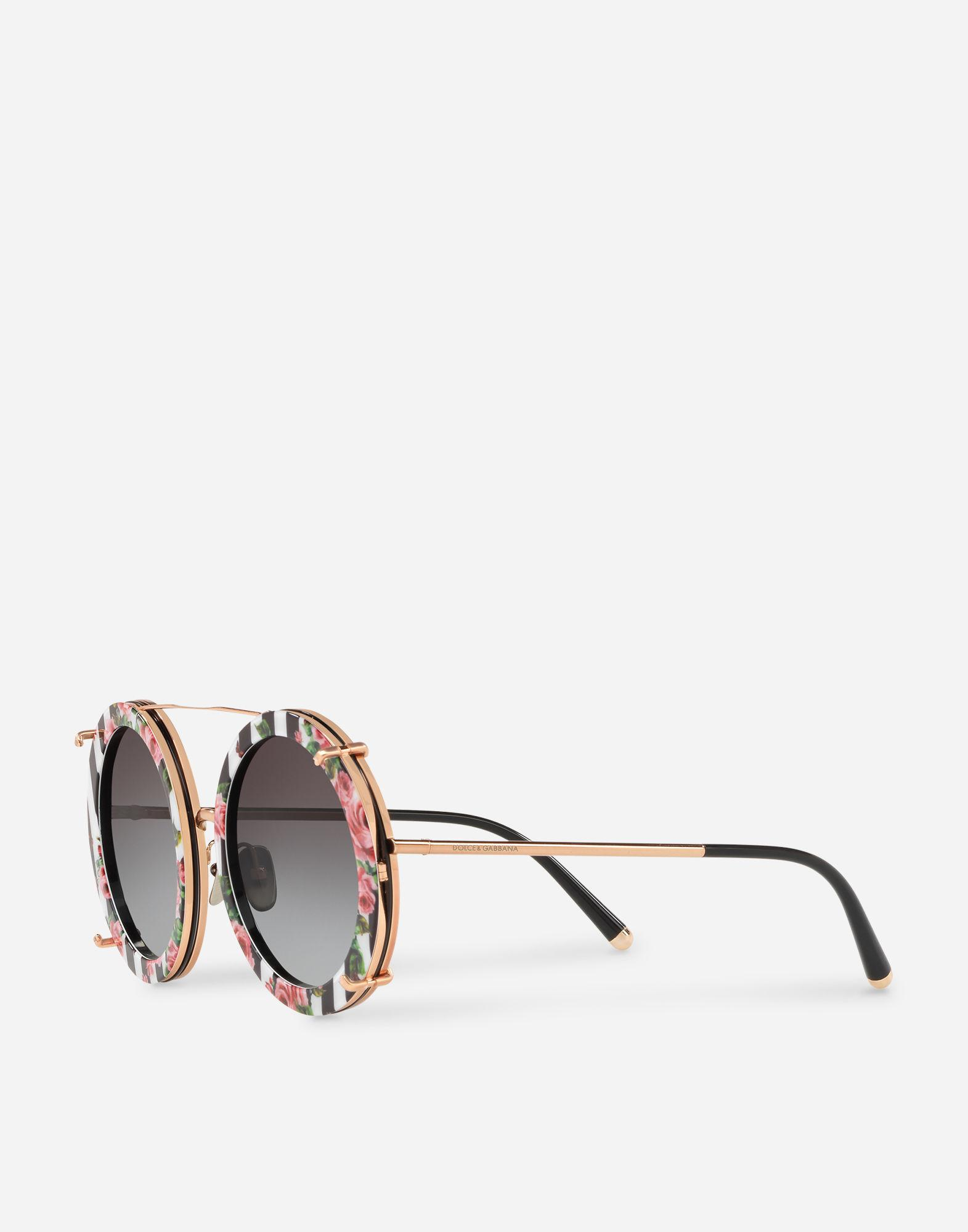 6020c3364dd Lyst - Dolce   Gabbana Round Clip-on Sunglasses In Gold Metal With Stripe  And Rose Print in Metallic