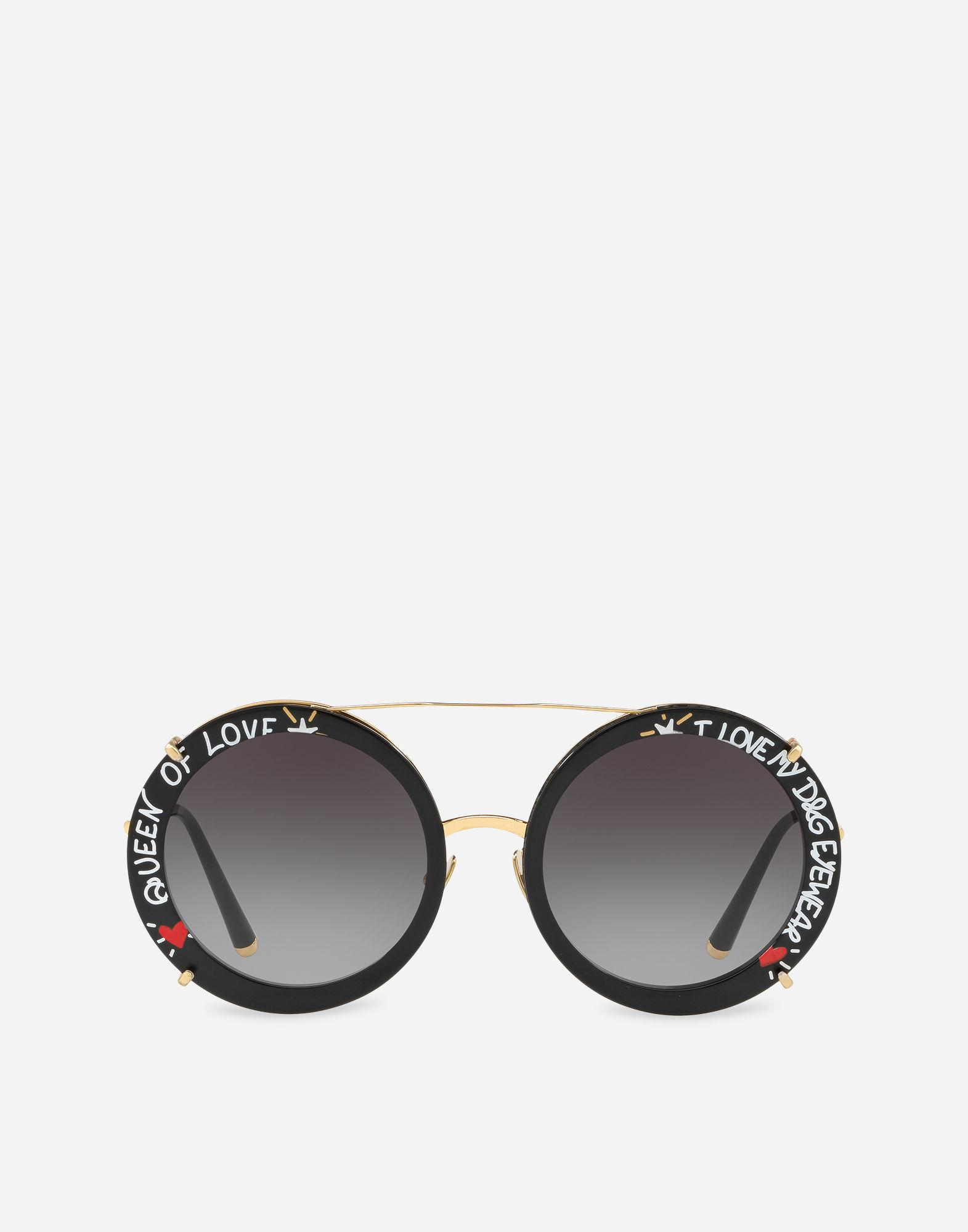 d5f2d69efe6 Dolce   Gabbana. Women s Metallic Round Clip-on Sunglasses In Gold Metal  With Graffiti Print