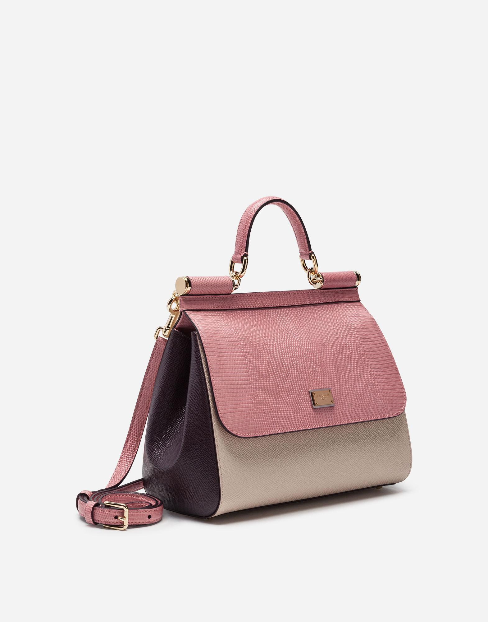 d502fd585be9 Lyst - Dolce   Gabbana Medium Sicily Bag In Mix Of Materials in Pink