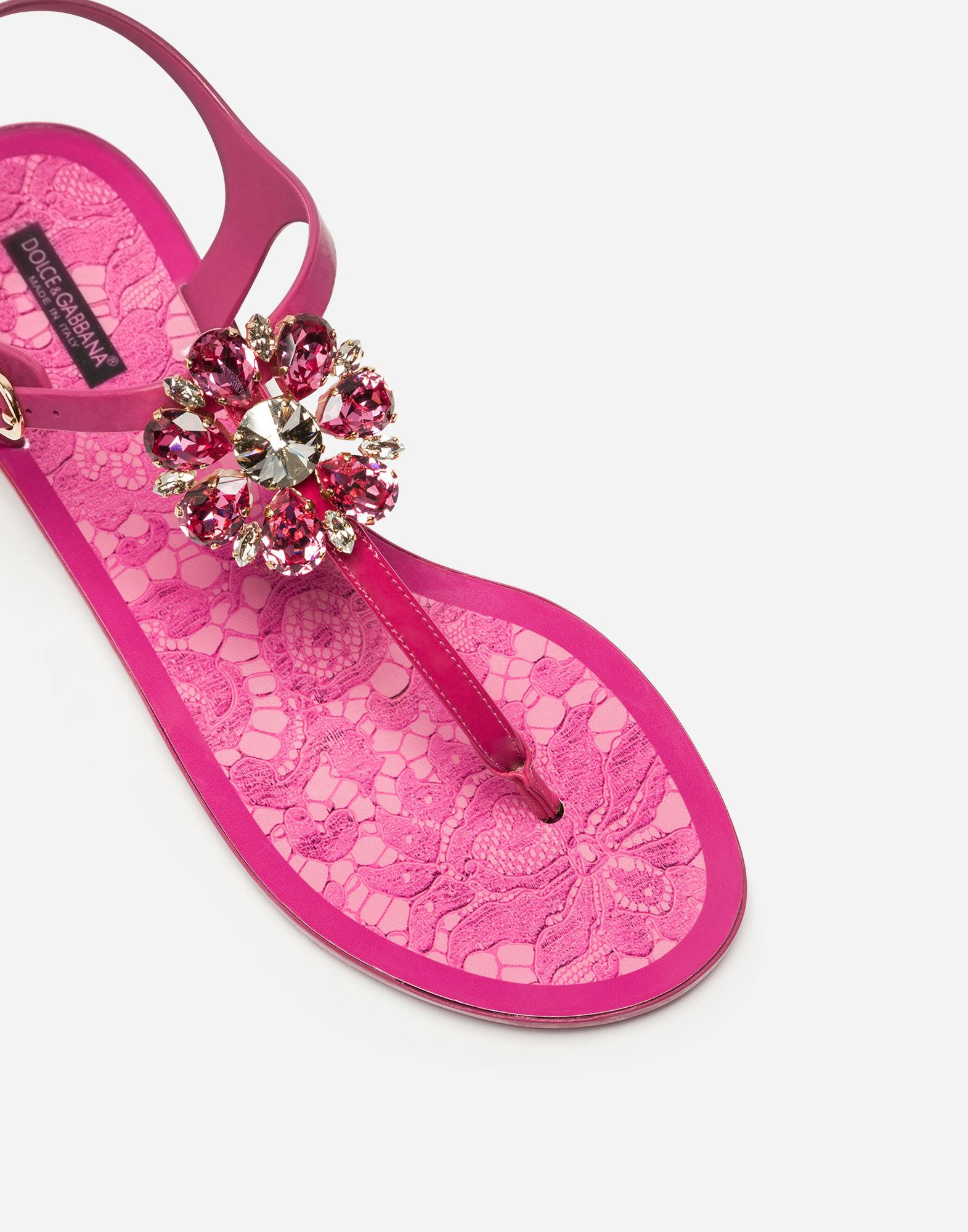 b11596b2f24 Lyst - Dolce   Gabbana Rubber Flip-flop Sandal And Patent With Brocade in  Pink