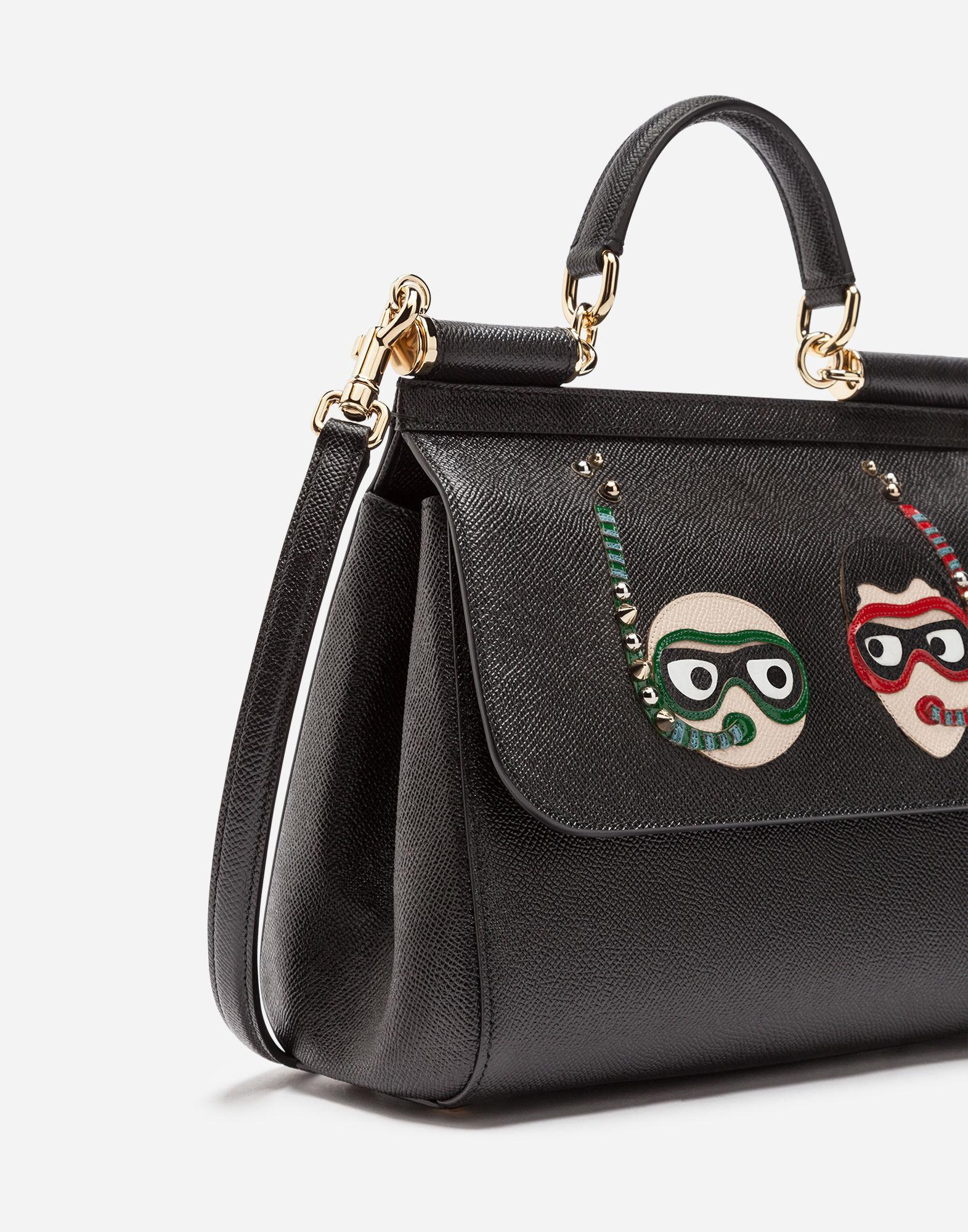 Lyst - Dolce   Gabbana Medium Sicily Bag In Dauphine Calfskin With Patches  Of The Designers in Black 787f9d1b42c75