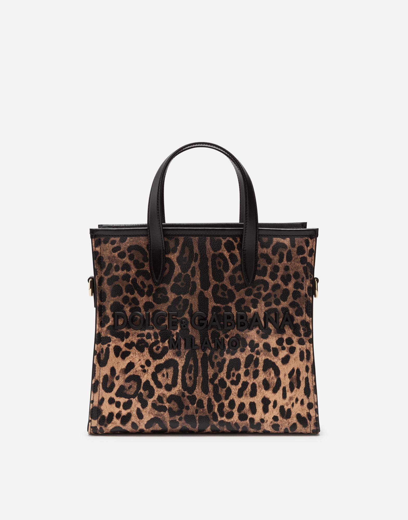 8548c2bc0b8 Lyst - Dolce   Gabbana Small Market Shopping Shoulder Bag In Leopard ...