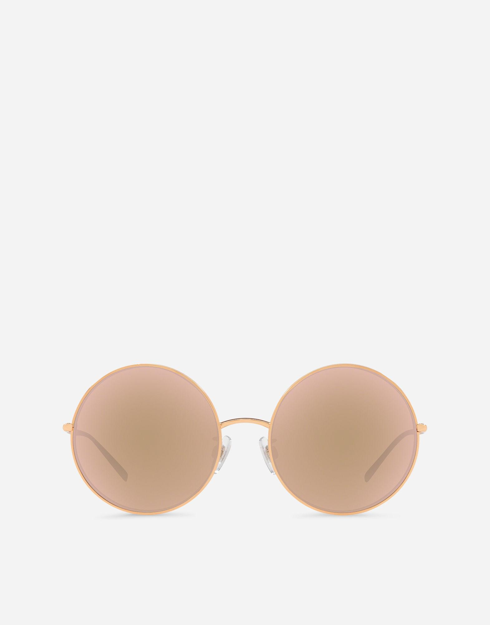 e59d8ec3eb74 Lyst - Dolce   Gabbana Round Gold Plated Sunglasses in Pink