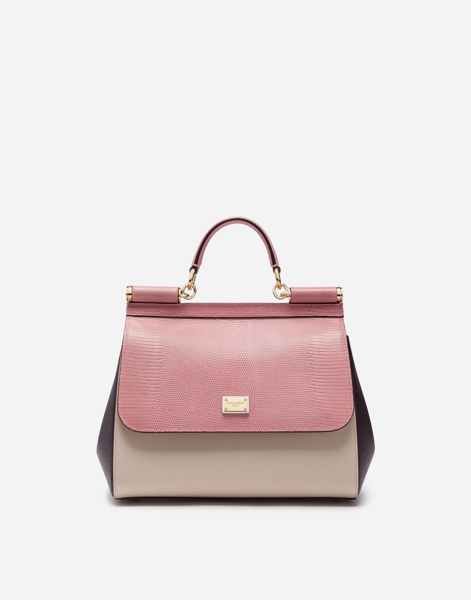 91d906602b0ea Lyst - Dolce   Gabbana Medium Sicily Bag In Mix Of Materials in Pink