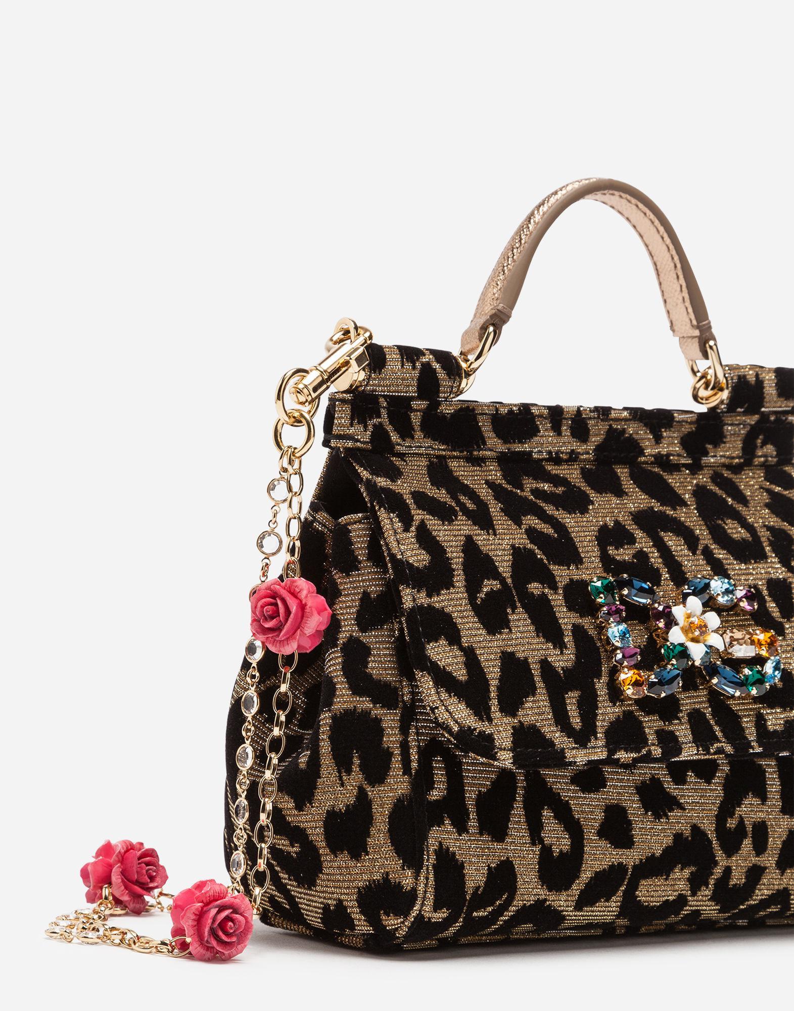bfcf30a30c7b Lyst - Dolce   Gabbana Mini Sicily Bag In Lurex Jacquard Fabric And  Leopard-print Velvet in Metallic