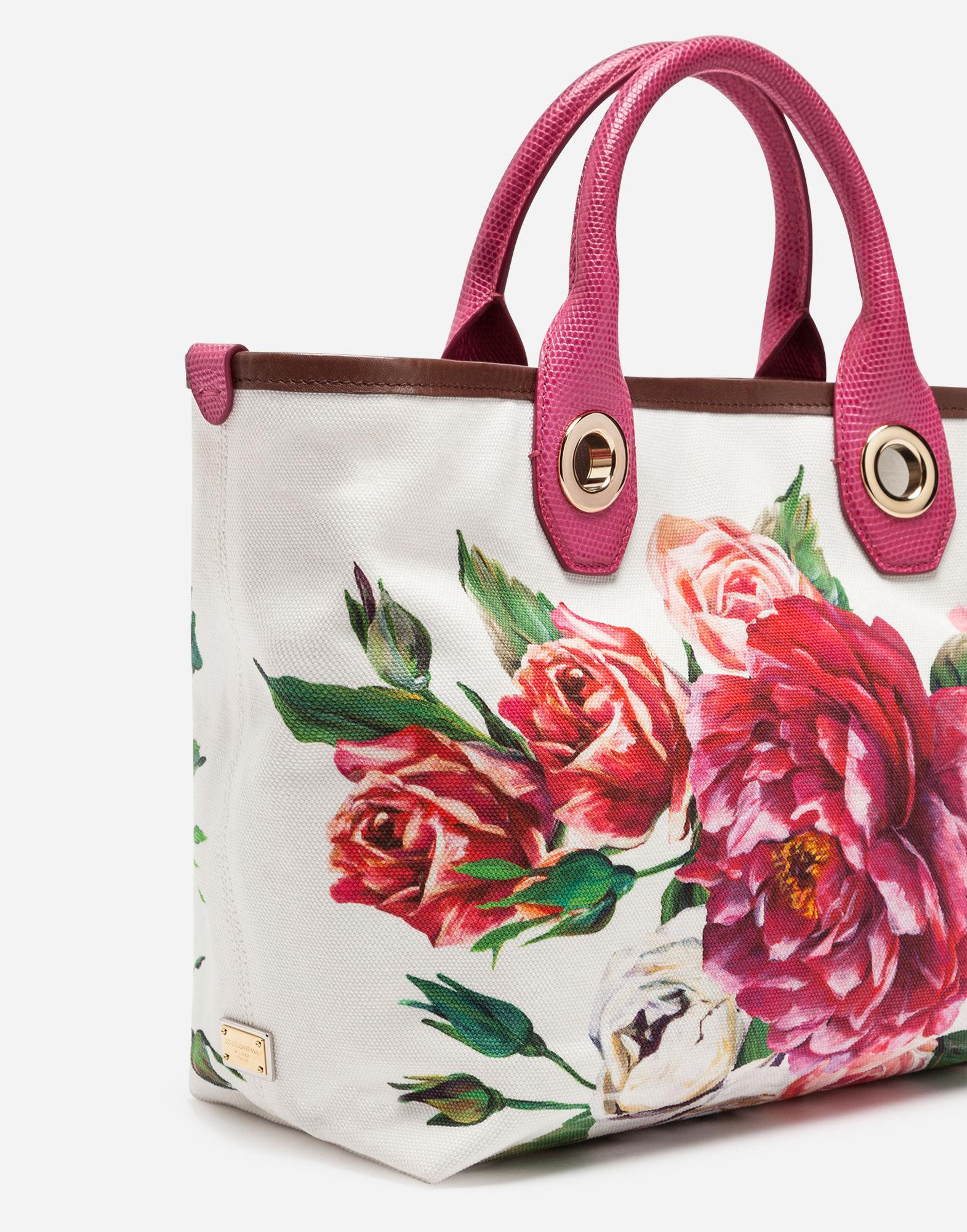 1130f4f3c4c0 Lyst - Dolce   Gabbana Small Capri Shopping Bag In Printed Canvas in Red