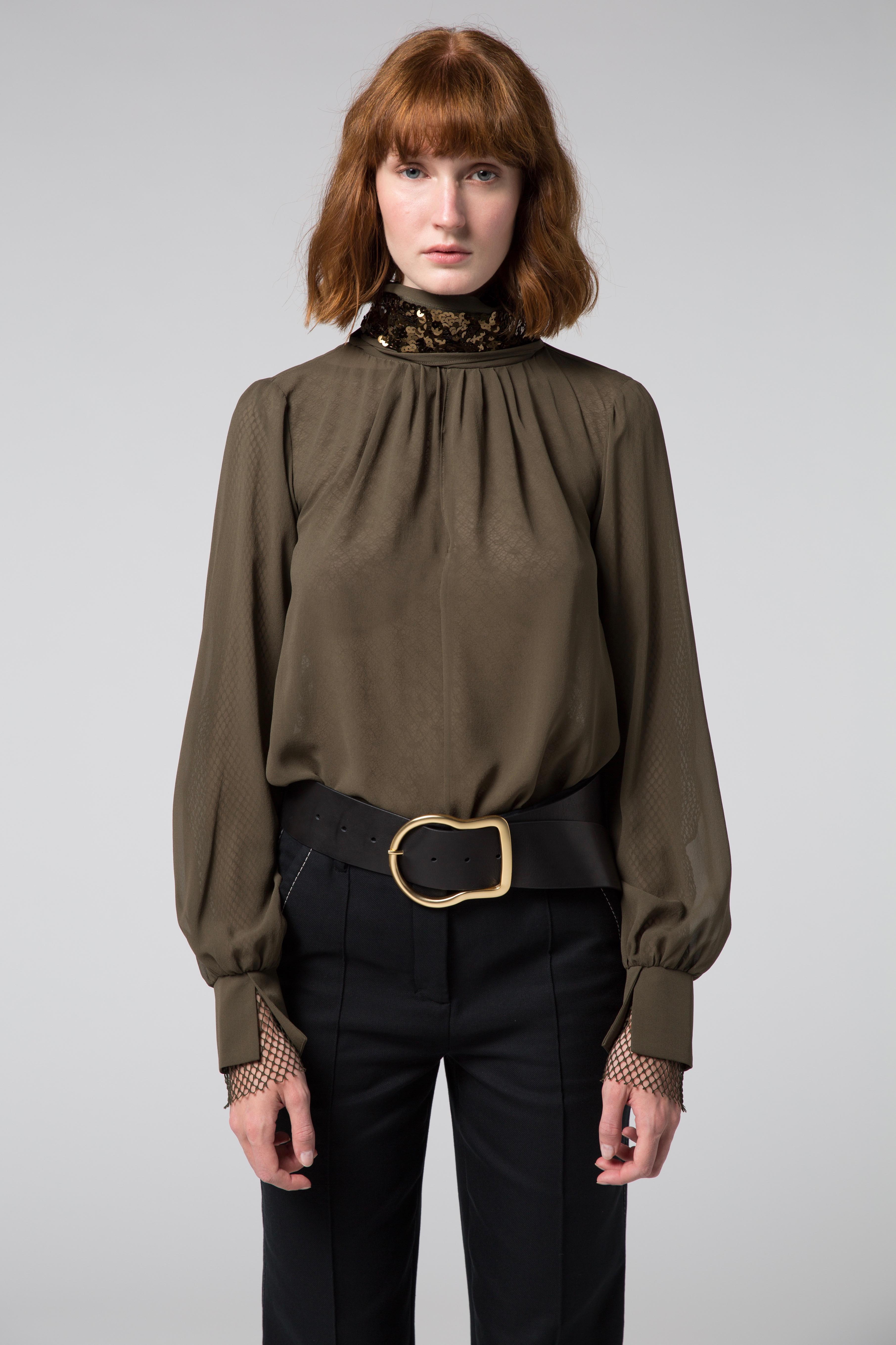 lyst dorothee schumacher sensitive lightness blouse 1 1. Black Bedroom Furniture Sets. Home Design Ideas