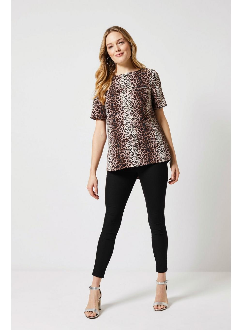 53afffaf72de Dorothy Perkins - Black Multicolour Animal Print Zip Pocket Blouse - Lyst.  View fullscreen