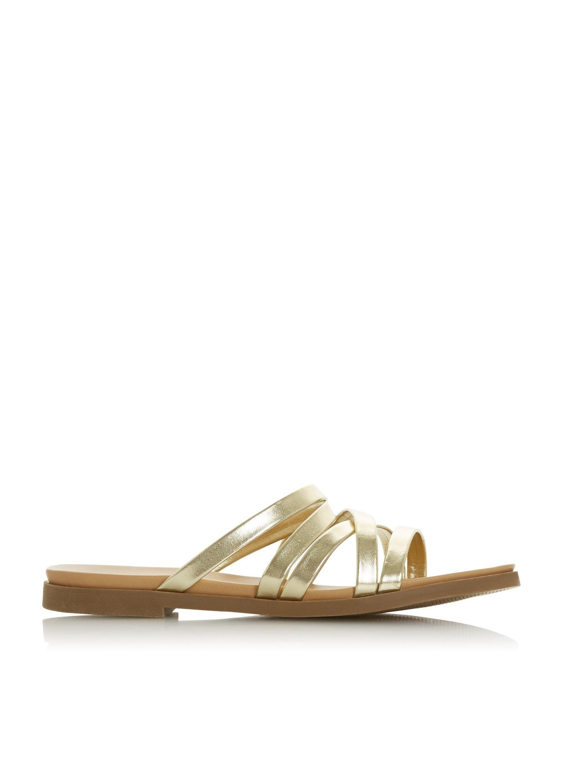 f91d8fb83 Dorothy Perkins. Women's Metallic Head Over Heels By Dune Gold 'lorens' Ladies  Flat Sandals