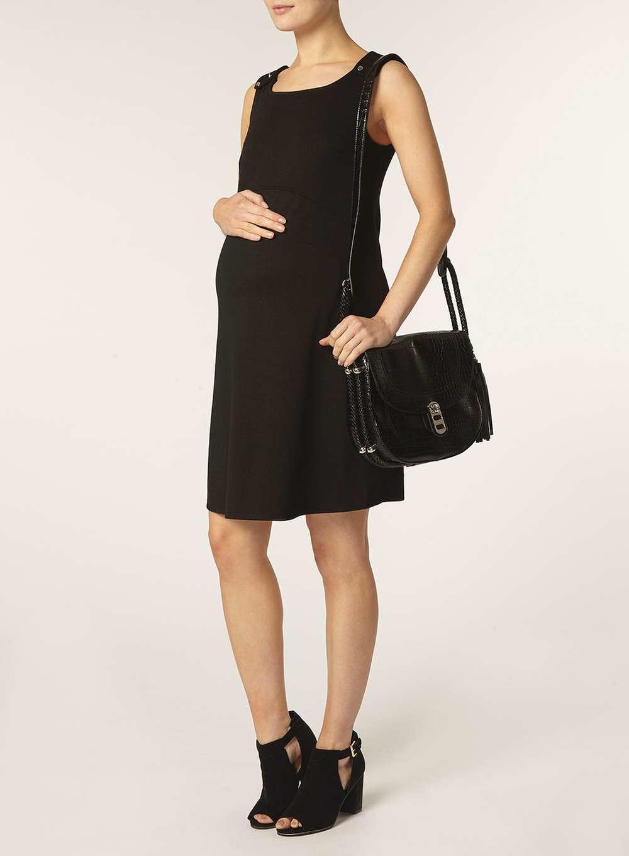 dorothy perkins maternity black ponte pinny dress in black