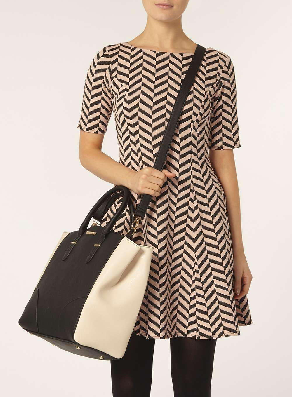 8510ade232f8 Lyst - Dorothy Perkins Black And Bone Oversized Tote Bag in Black