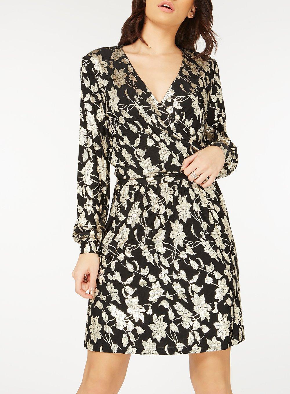 3763c359959464 Lyst - Dorothy Perkins Vero Moda Black Foiled Wrap Dress in Black