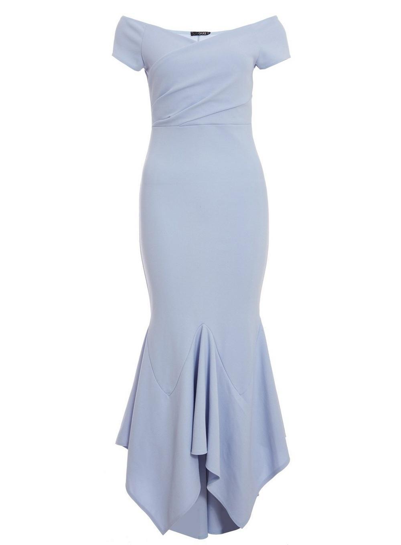 968799e628c Dorothy Perkins Quiz Light Blue Wrap Bardot Maxi Dress in Blue - Lyst