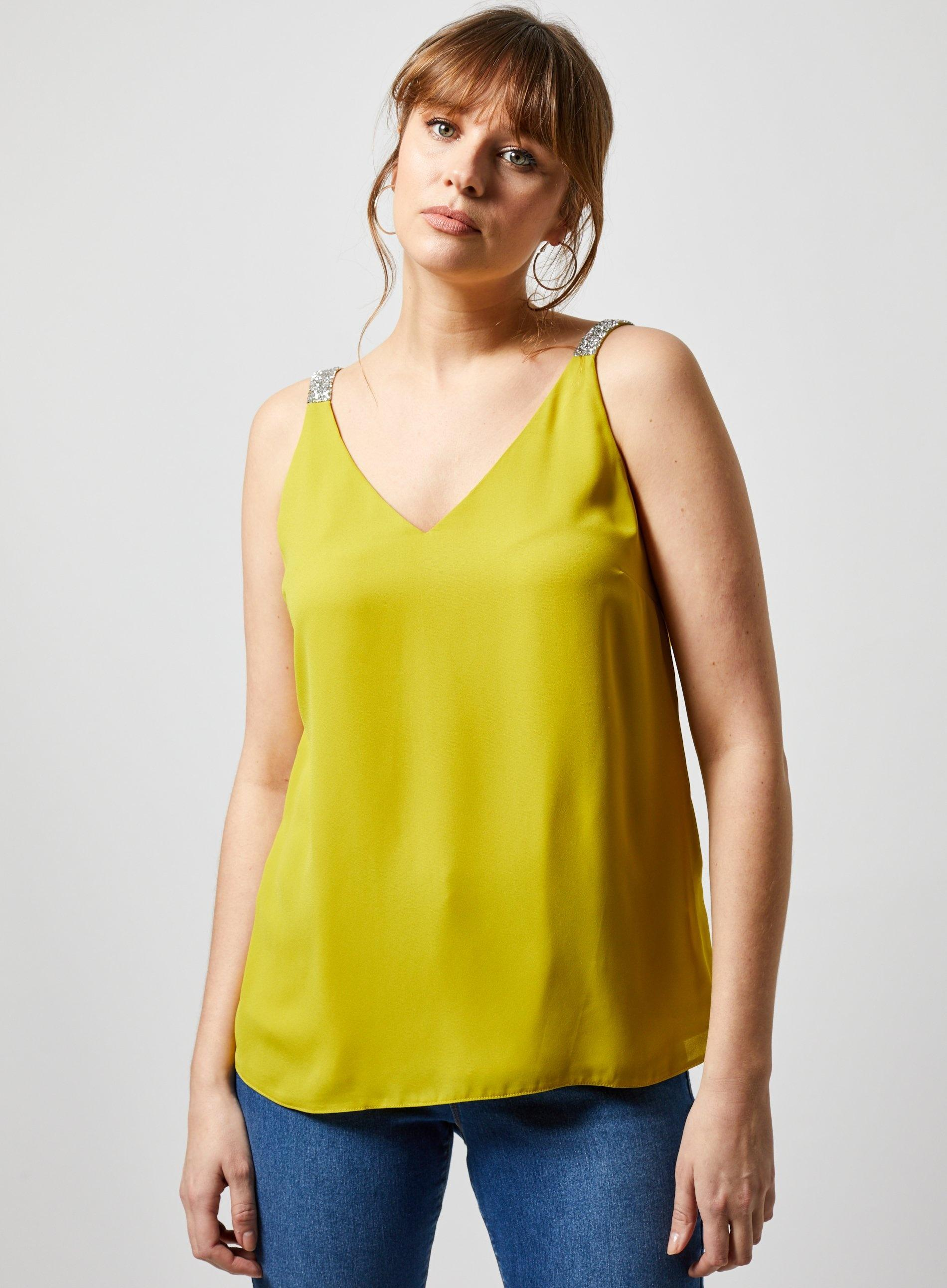 8660bb76 Dorothy Perkins - Green Lime Glitter Strap Camisole Top - Lyst. View  fullscreen