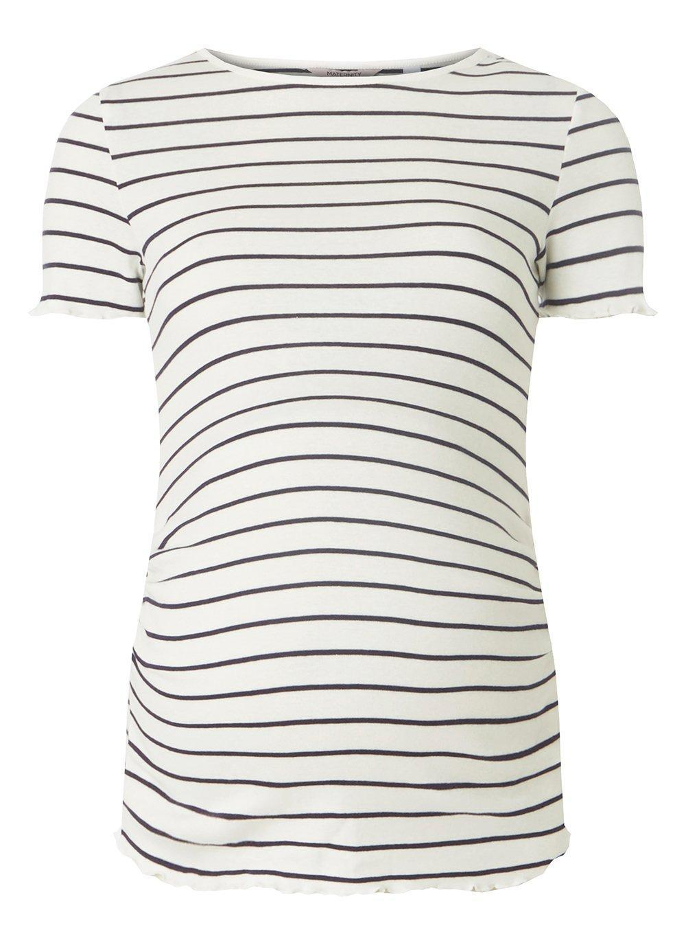 Dorothy Perkins Womens **Maternity Navy Striped Short Sleeve Lettuce Trim T-Shirt- Free Shipping Outlet Cheapest Cheap Online Cheap Sale Shop Best Place Sale Online Classic jRcB1