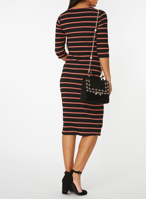 Dorothy Perkins Maternity Womens Stripe Sleeve Bodycon Dress