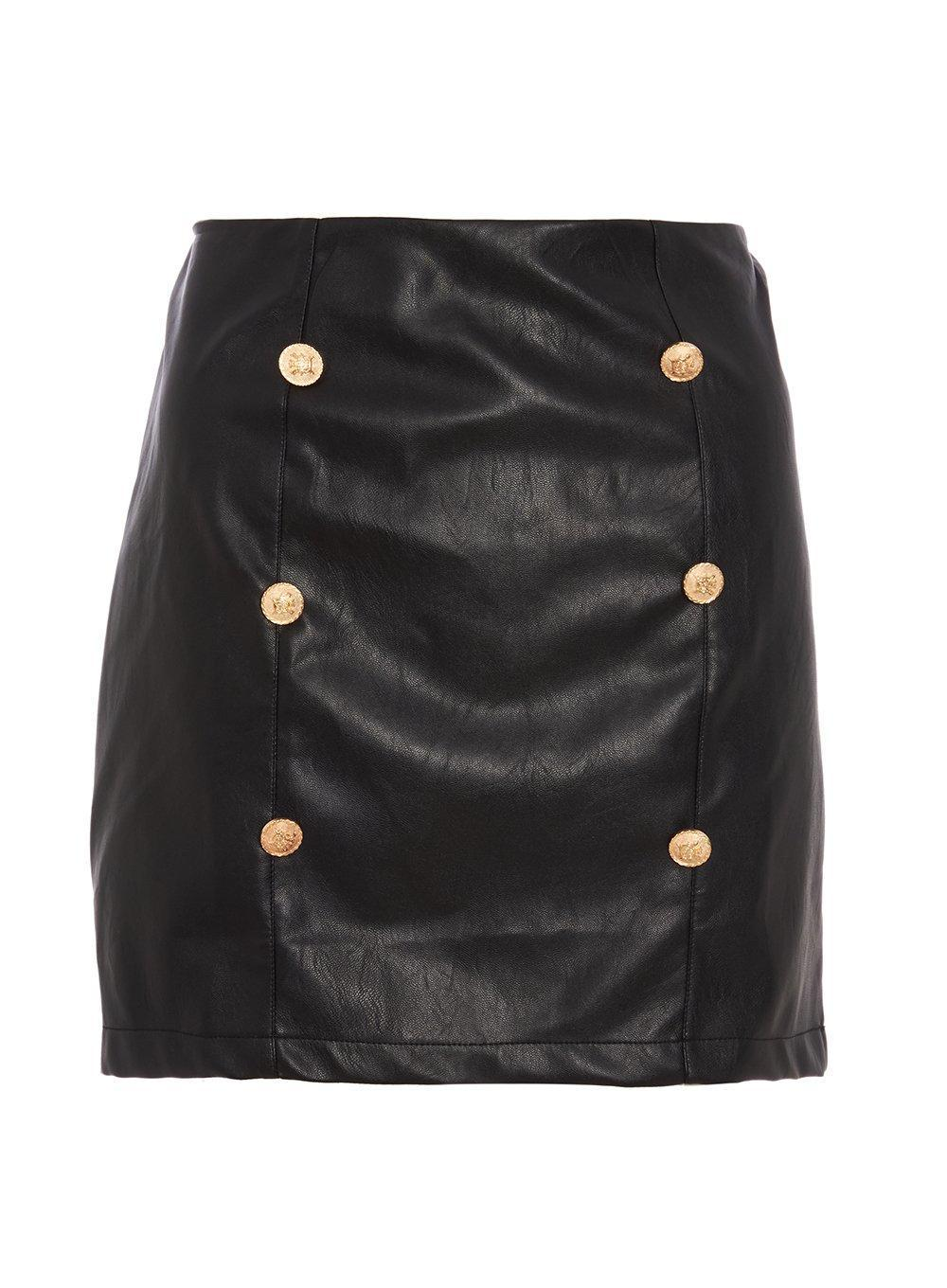 51588d477a Lyst - Dorothy Perkins Quiz Black And Gold Button Skirt in Black