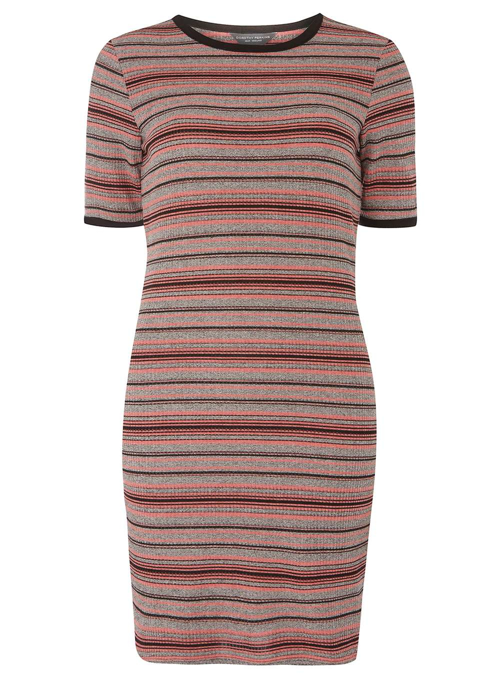 dorothy perkins grey and prink stripe tunic in gray