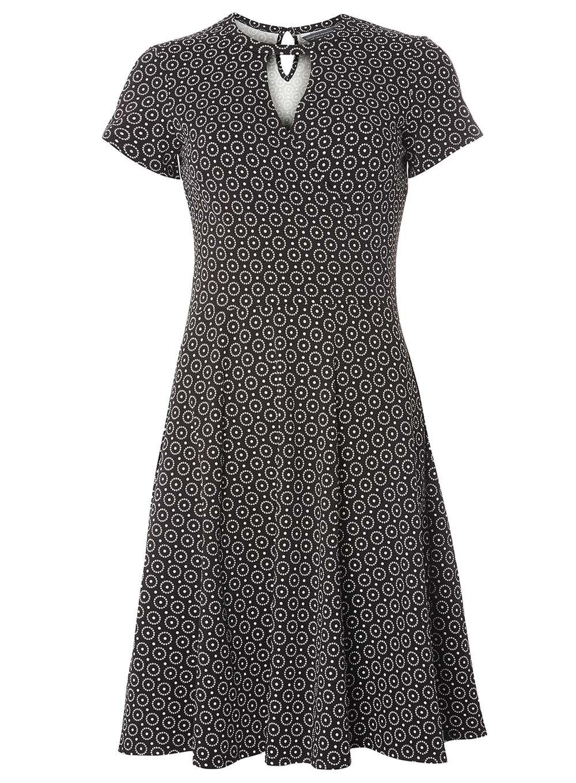 dorothy perkins monochrome dot keyhole dress in black