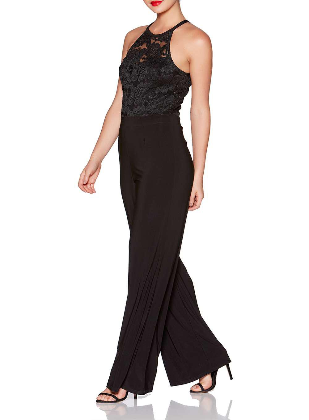 9fae17b282 Lyst - Dorothy Perkins Quiz Black Glitter Lace Jumpsuit in Black